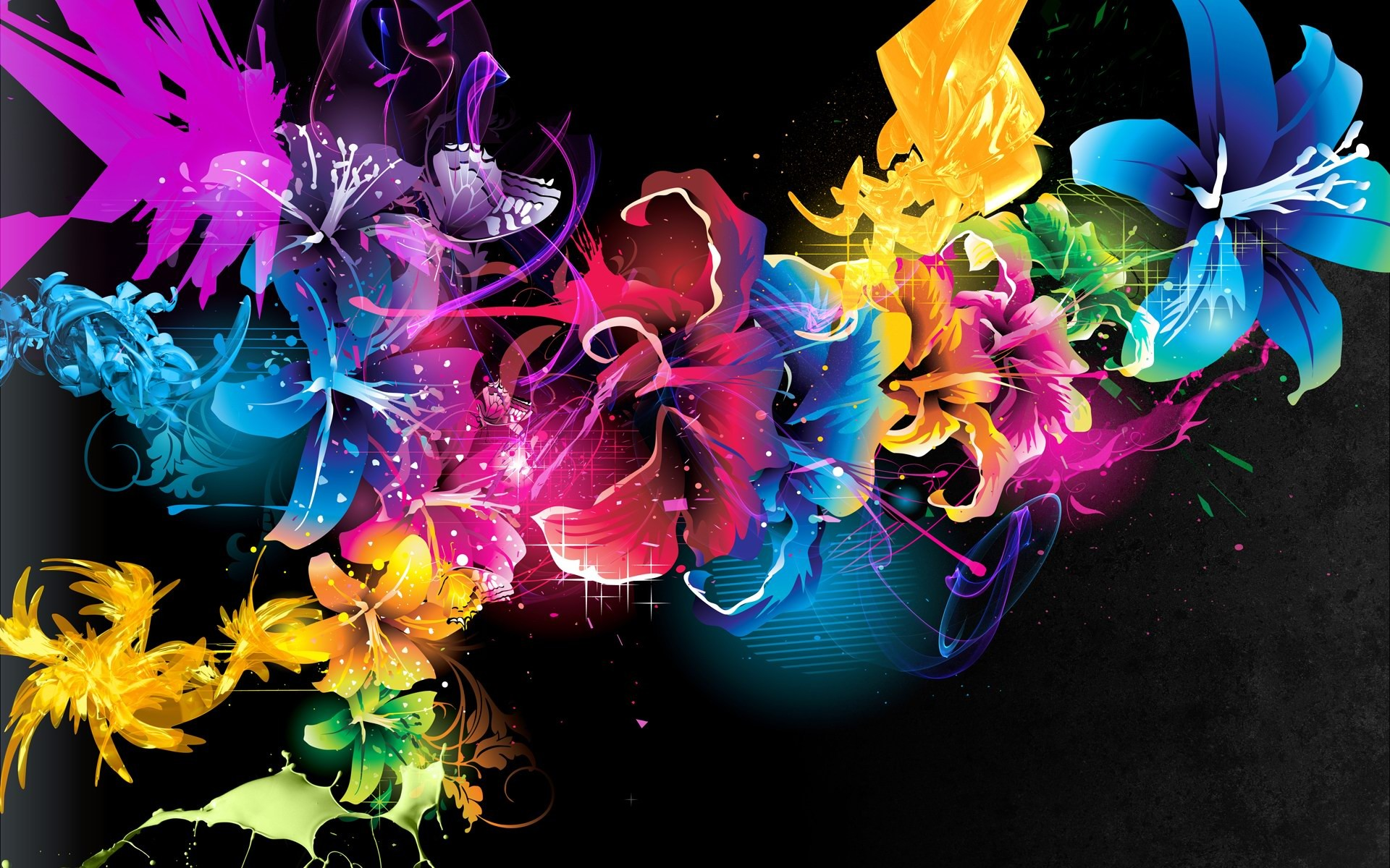Colorful Abstract Flower Design Hd Wallpaper