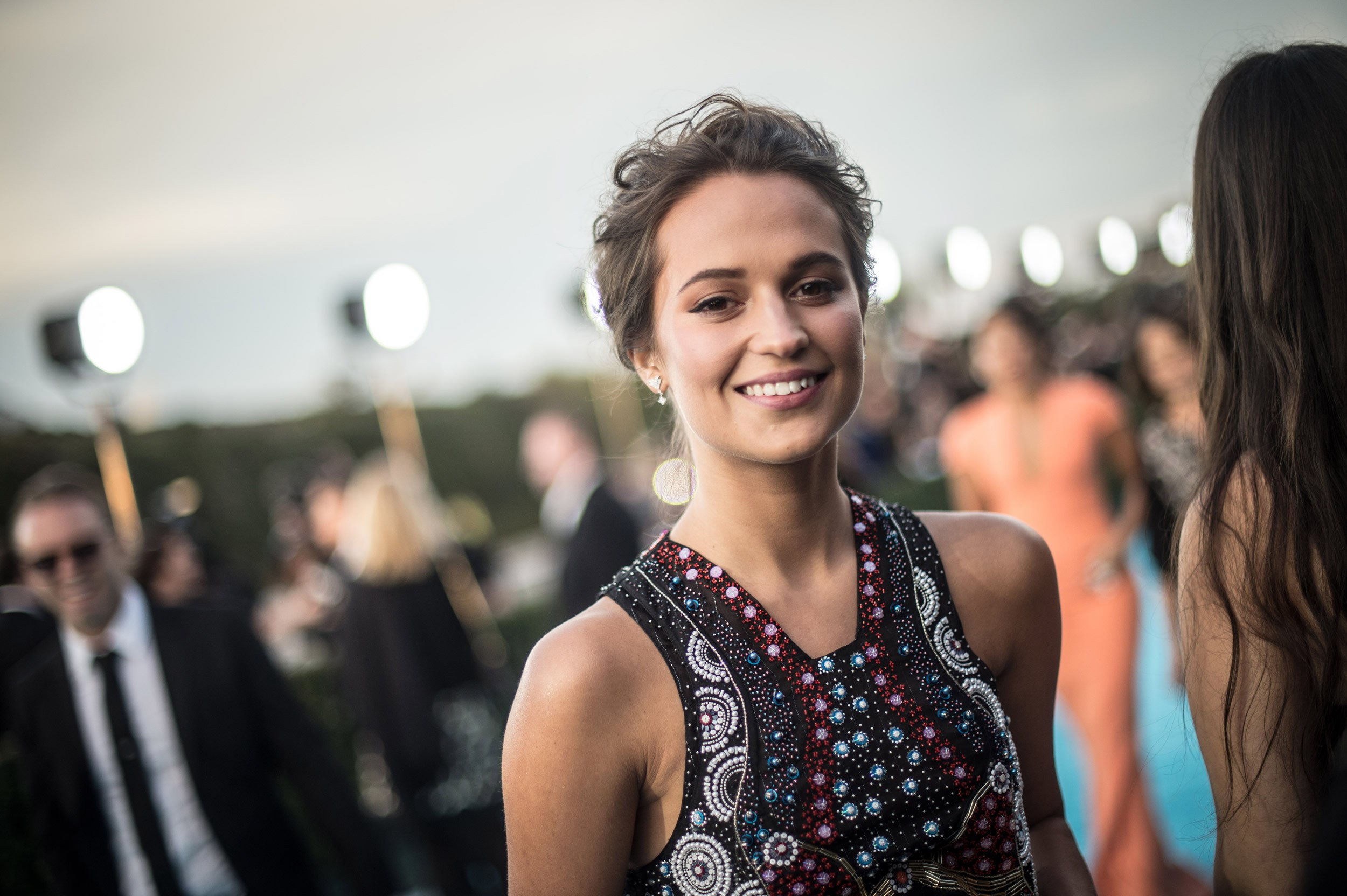 amazing alicia vikander smiling face look free hd mobile desktop background wallpaper