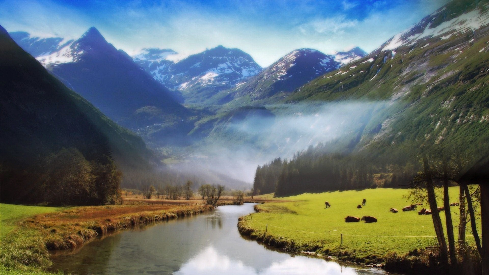 Cloudy Desktop River Wallpapers Images Picture Download