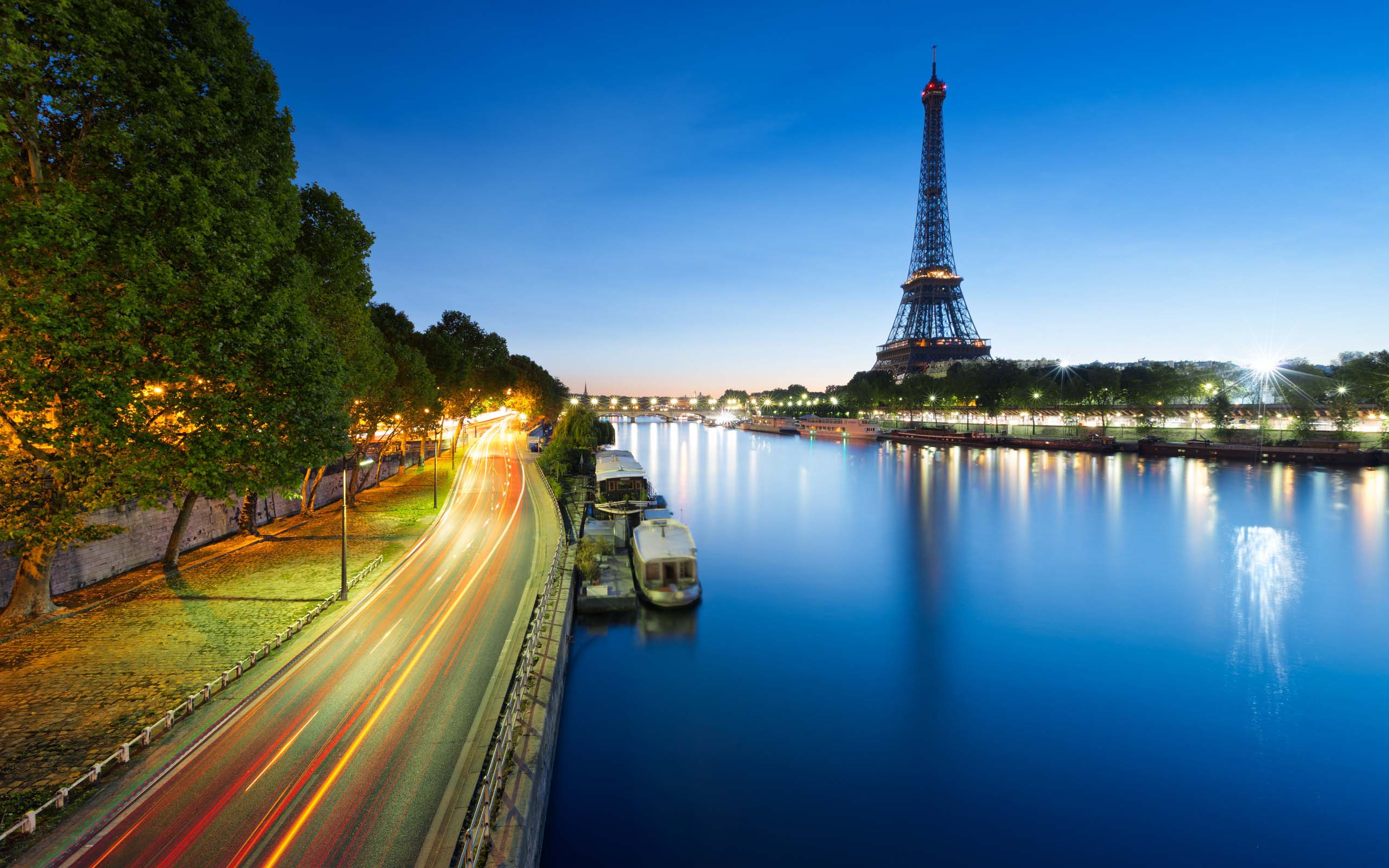 France Eiffel Tower River Night Wallpaper Picture Images