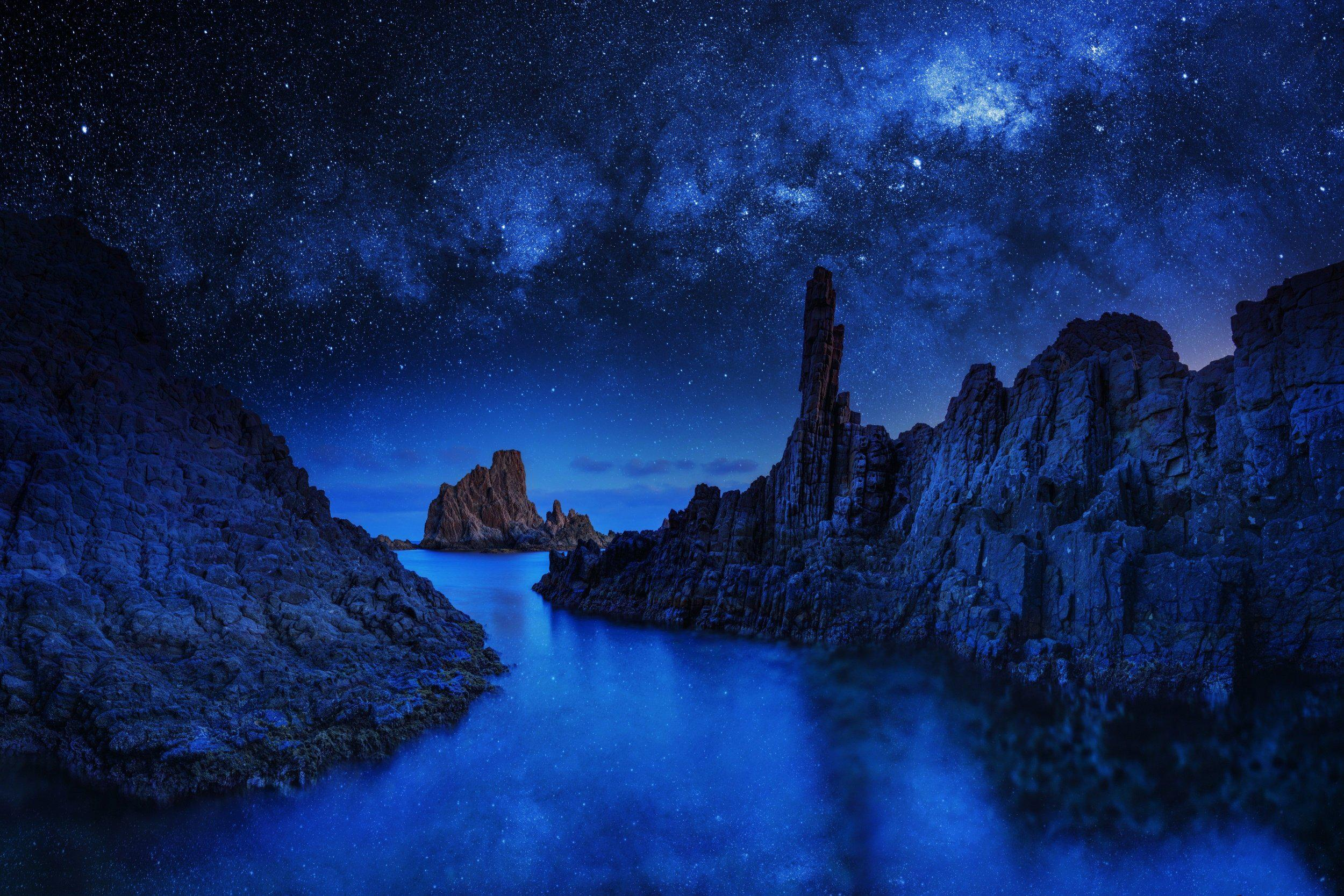 night blue rivers with night clouds hd image picture download
