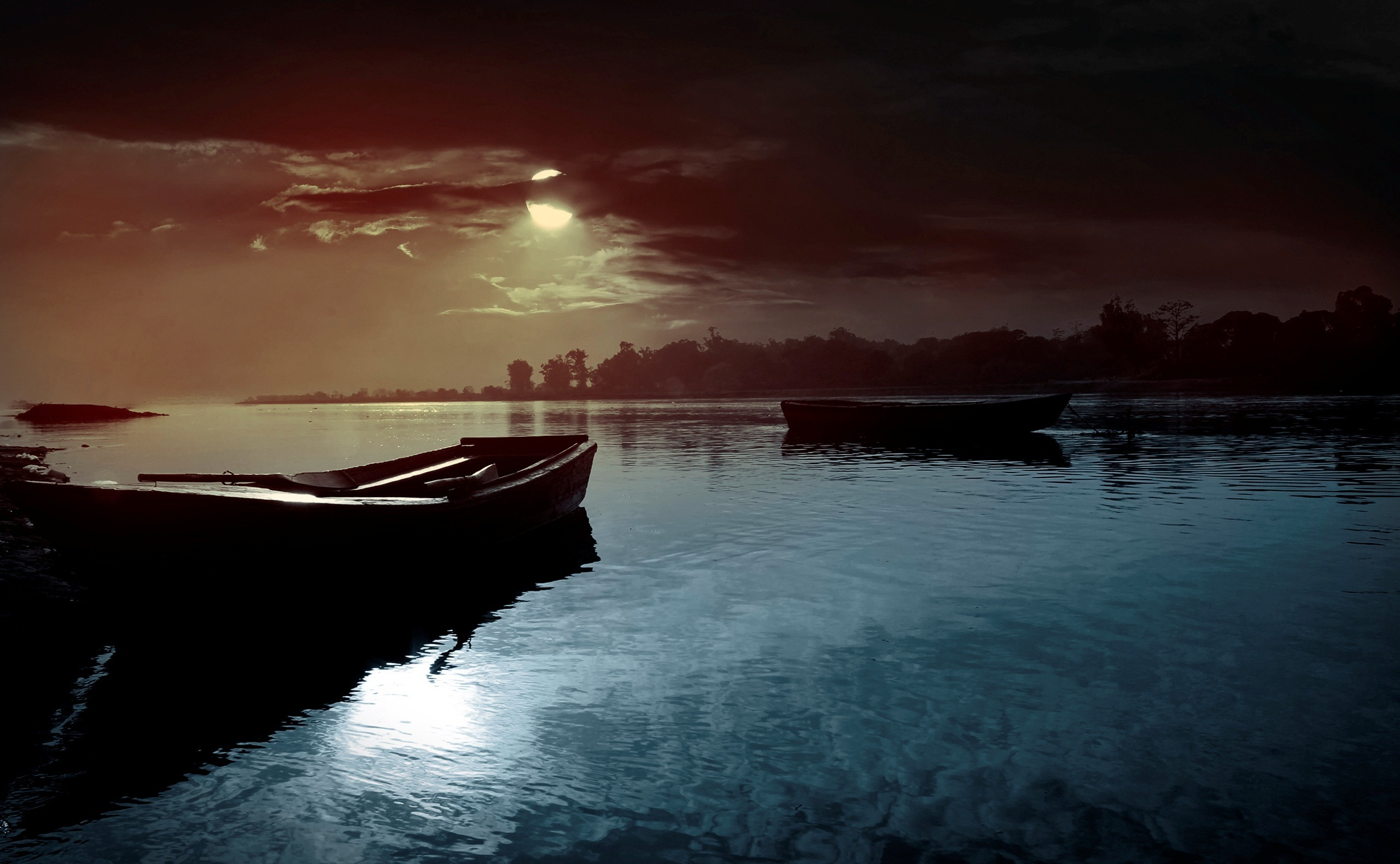 night moon boats on river wallpaper images picture