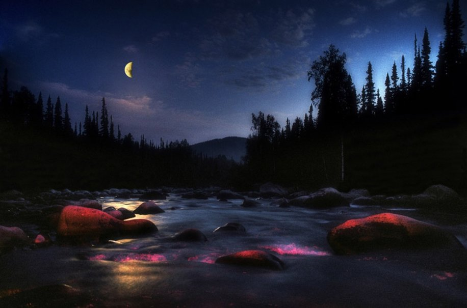 Night Moon Shadow On River Image Photos Picture