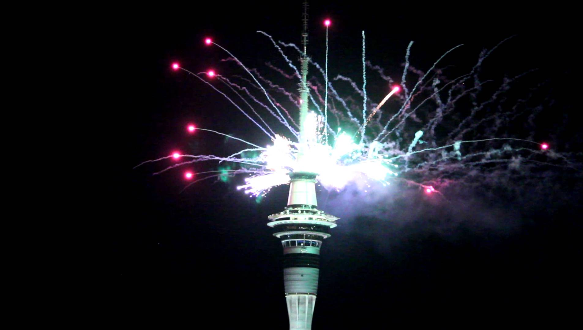 hd auckland city fireworks sky tower new years new zealand free pictures