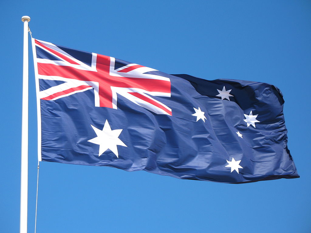 australia flag waving animated hd