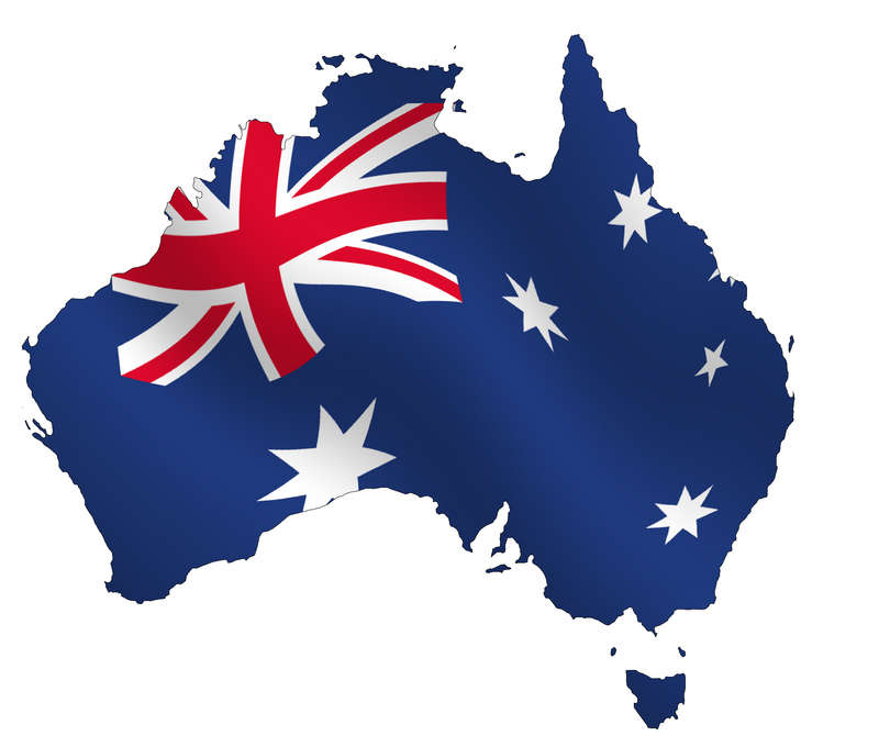 australian flag inside country map outline wallpaper