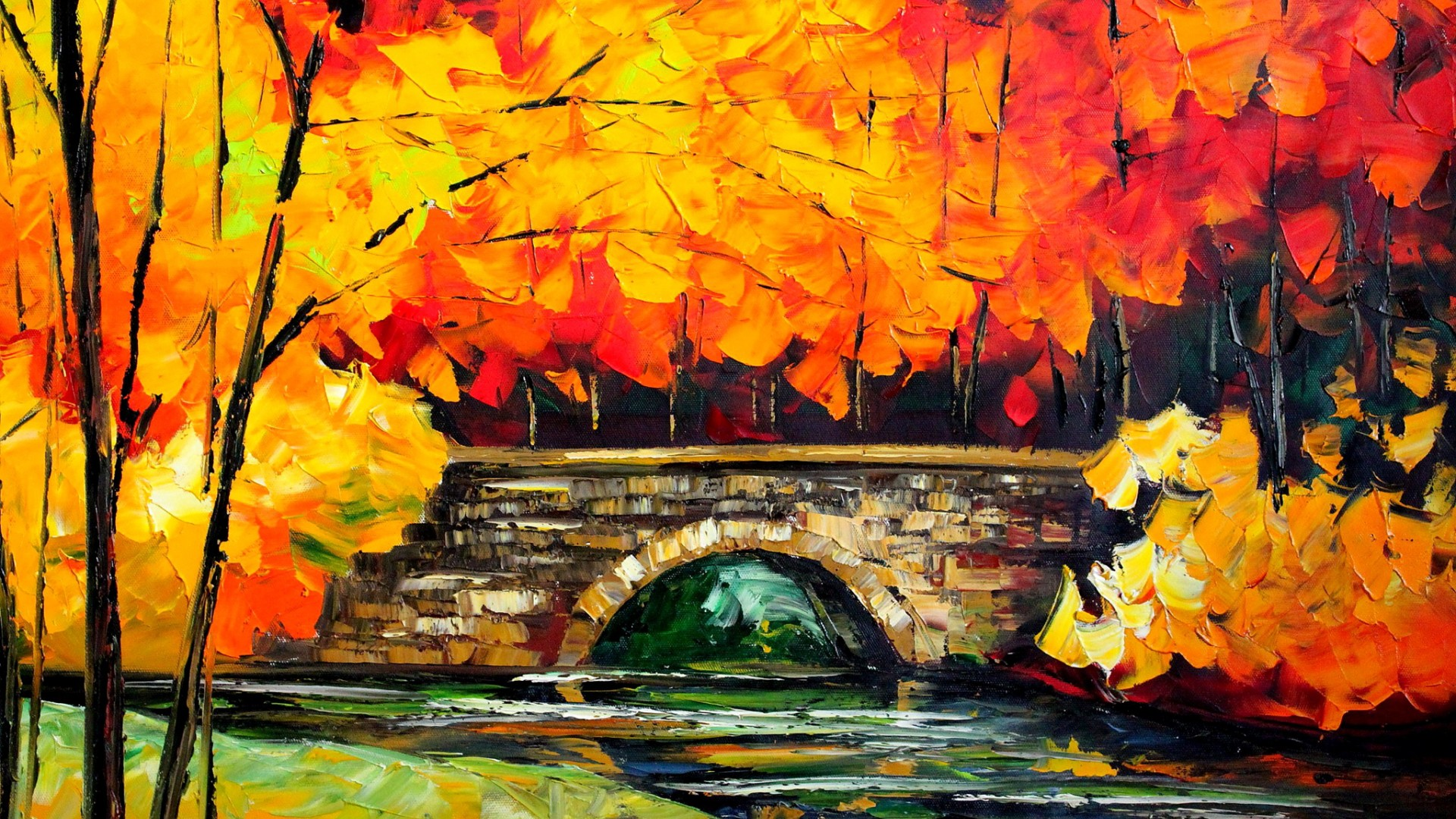 late autumn bridge painting hd wallpaper image free download