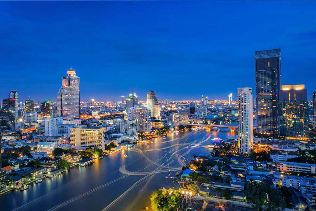bangkok night view river wallpaper