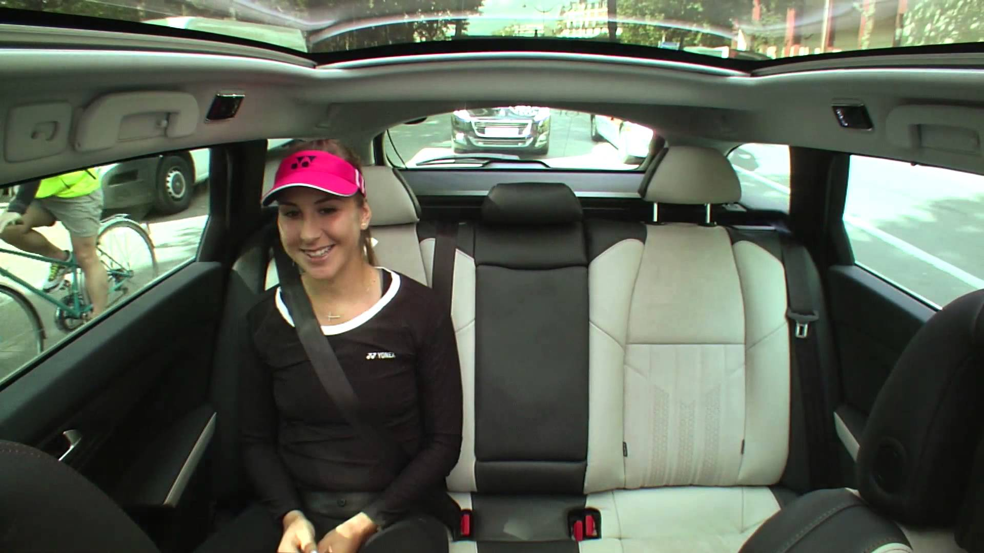 download belinda bencic smiling face with car mobile free background hd photos
