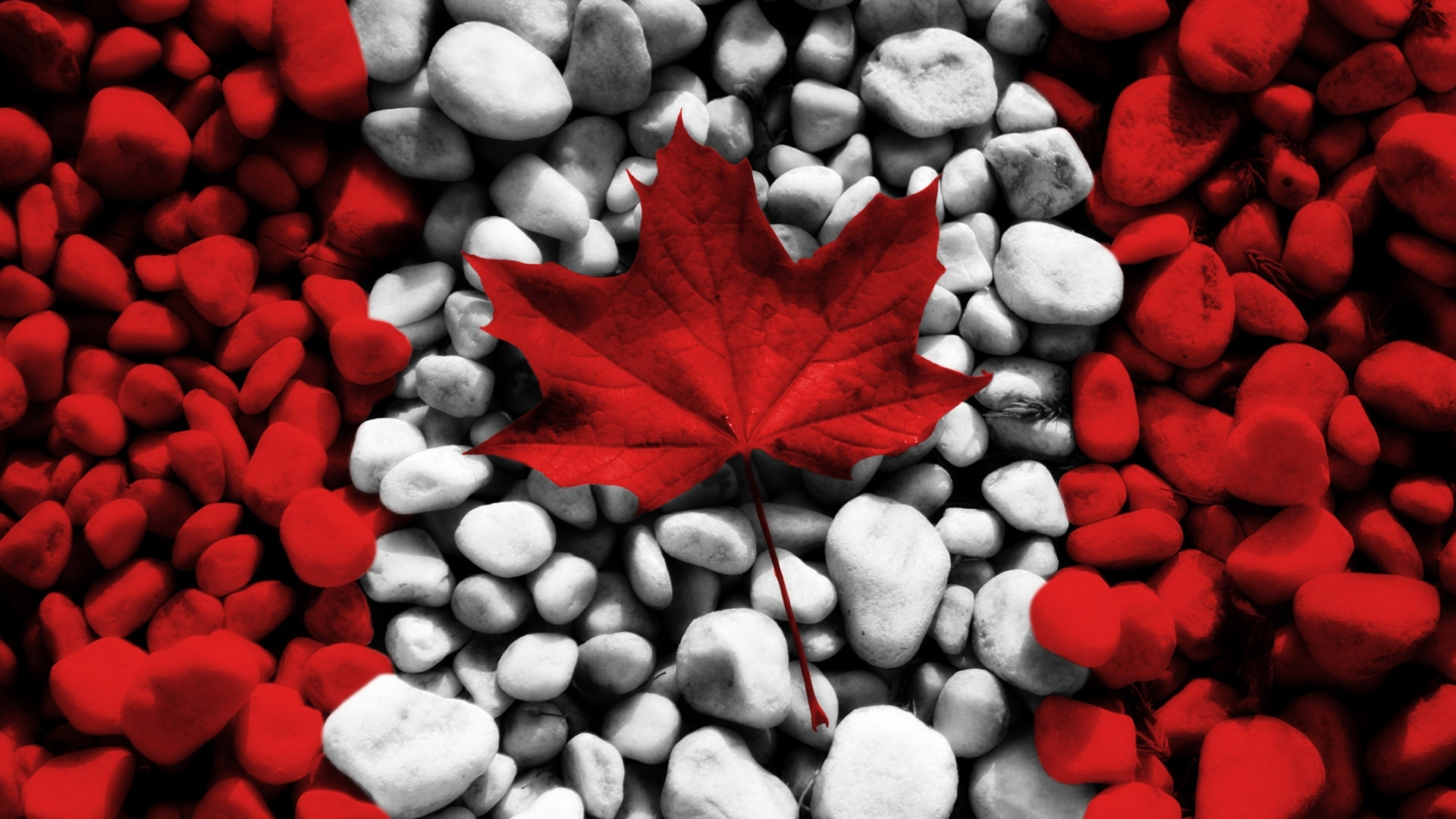 pebbles stone canada flag 4k wallpaper