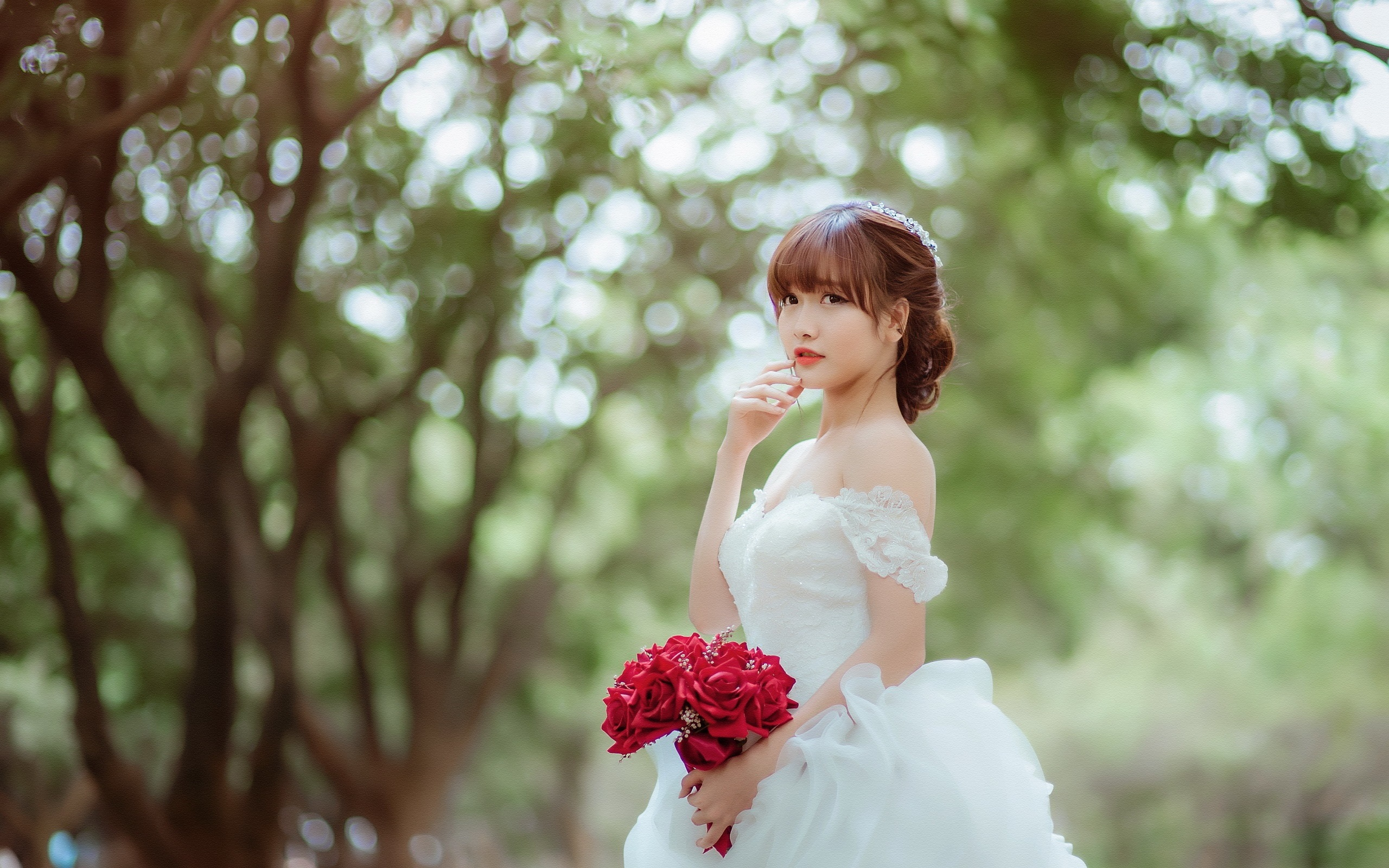 beautiful asian girl bride rose wallpaper