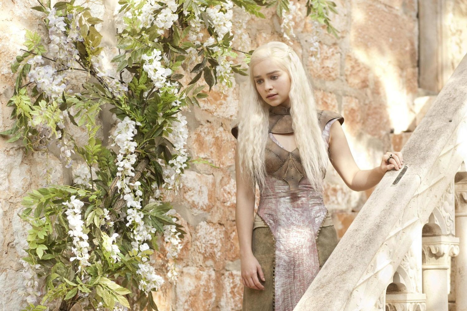 beautiful emilia clarke amazing stylish pose look with background white trees hd mobile free desktop wallpaper