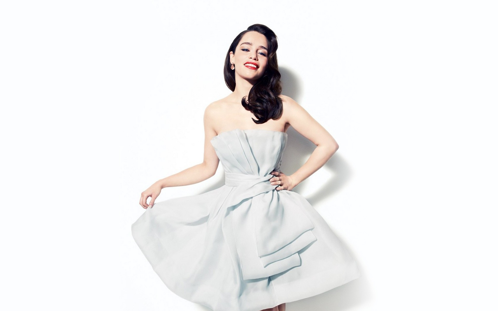 beauty emilia clarke nice white dress still hd background download free photo mobile