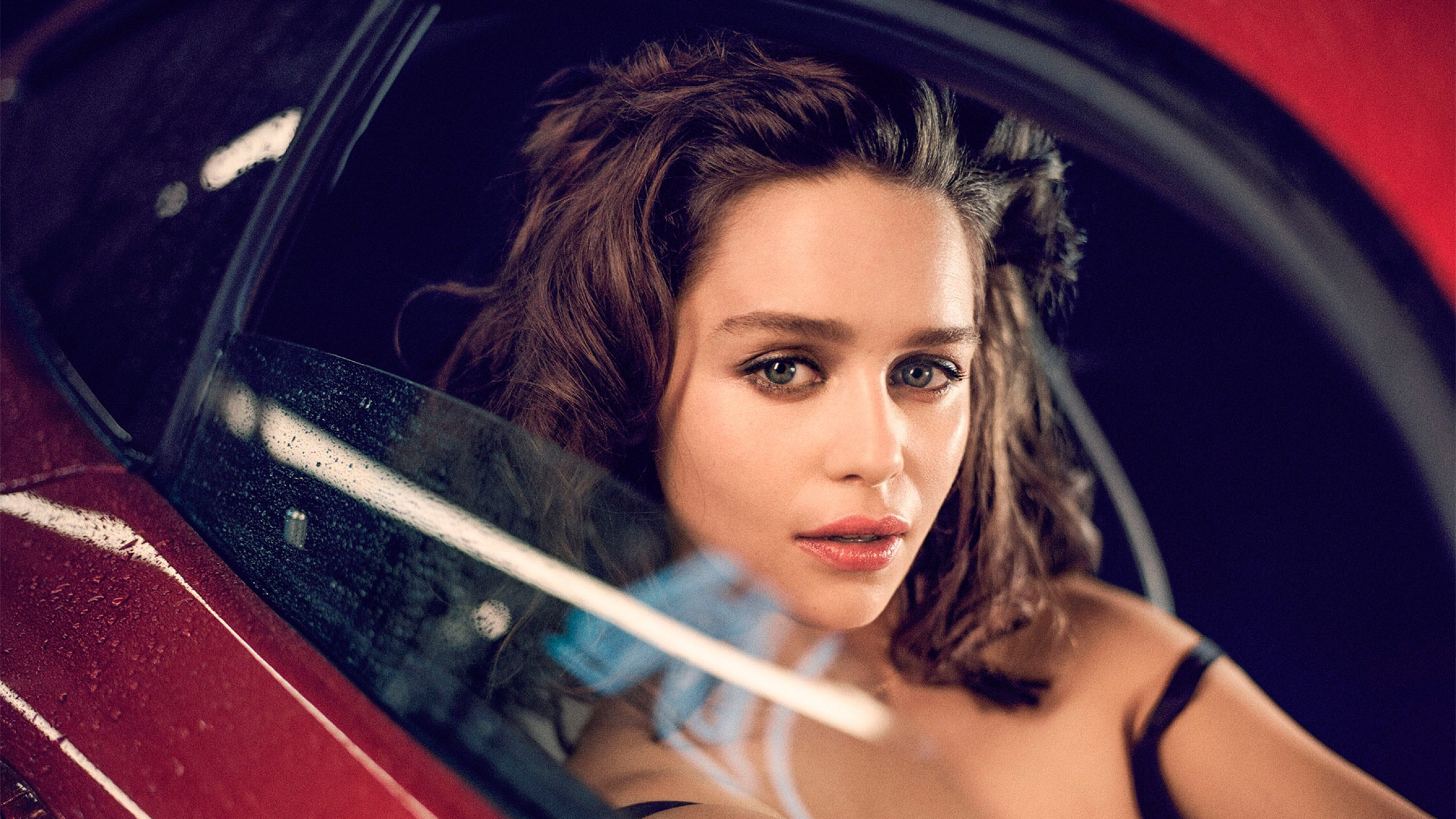 Lovely Emilia Clarke Beauty Face Style Look With Red Car Background Mobile Hd Wallpaper Free
