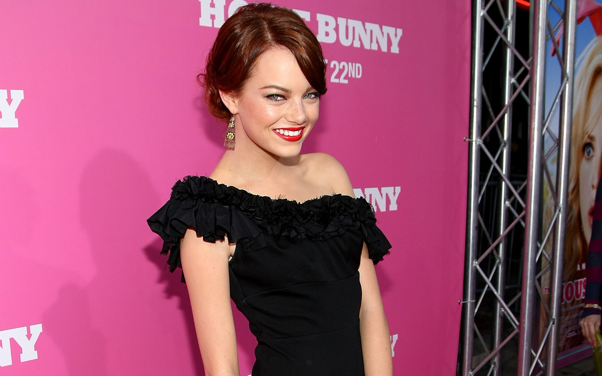 download emma stone beautiful smile face pose in function laptop free images hd background
