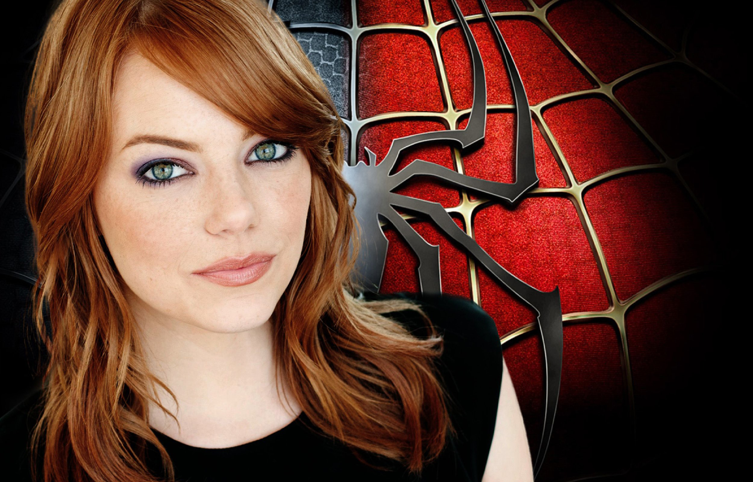 free emma stone nice face look with spyder background still download mobile images hd
