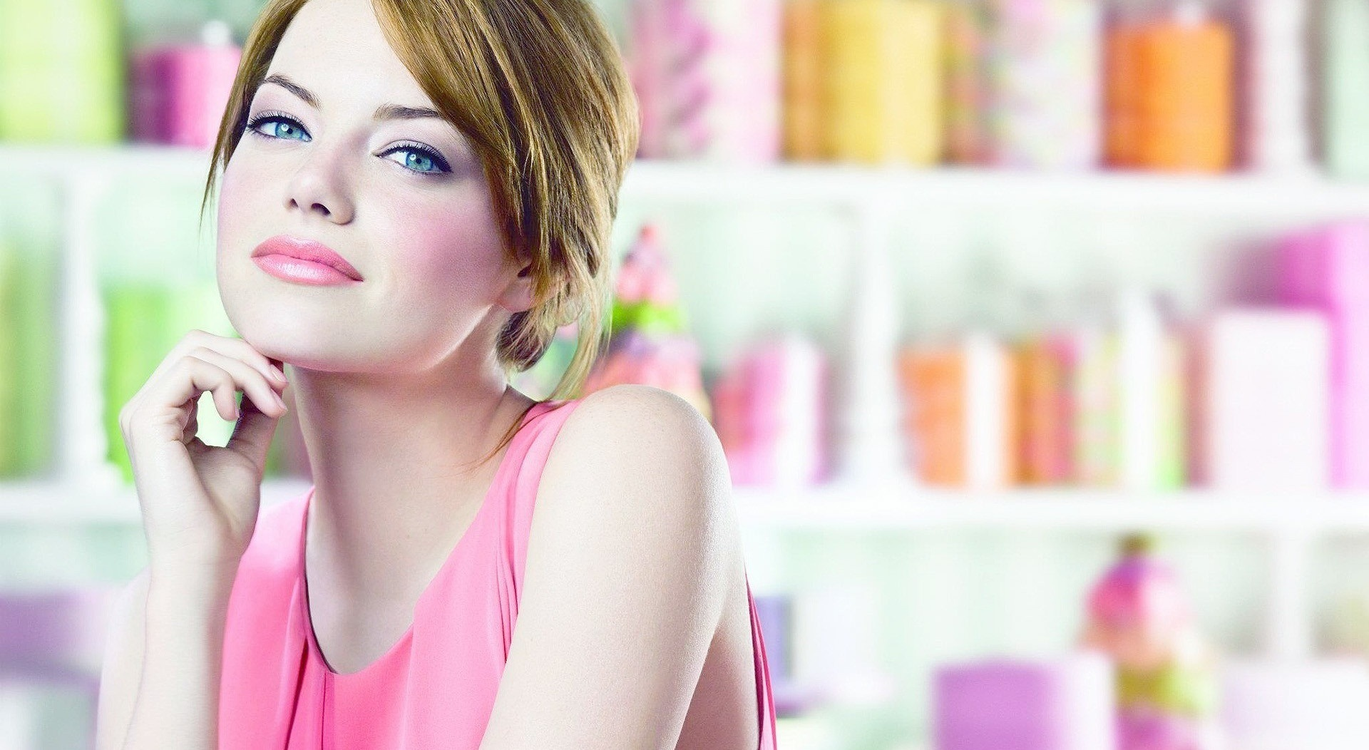 hd emma stone wonderful thinking face look still desktop free background mobile wallpaper
