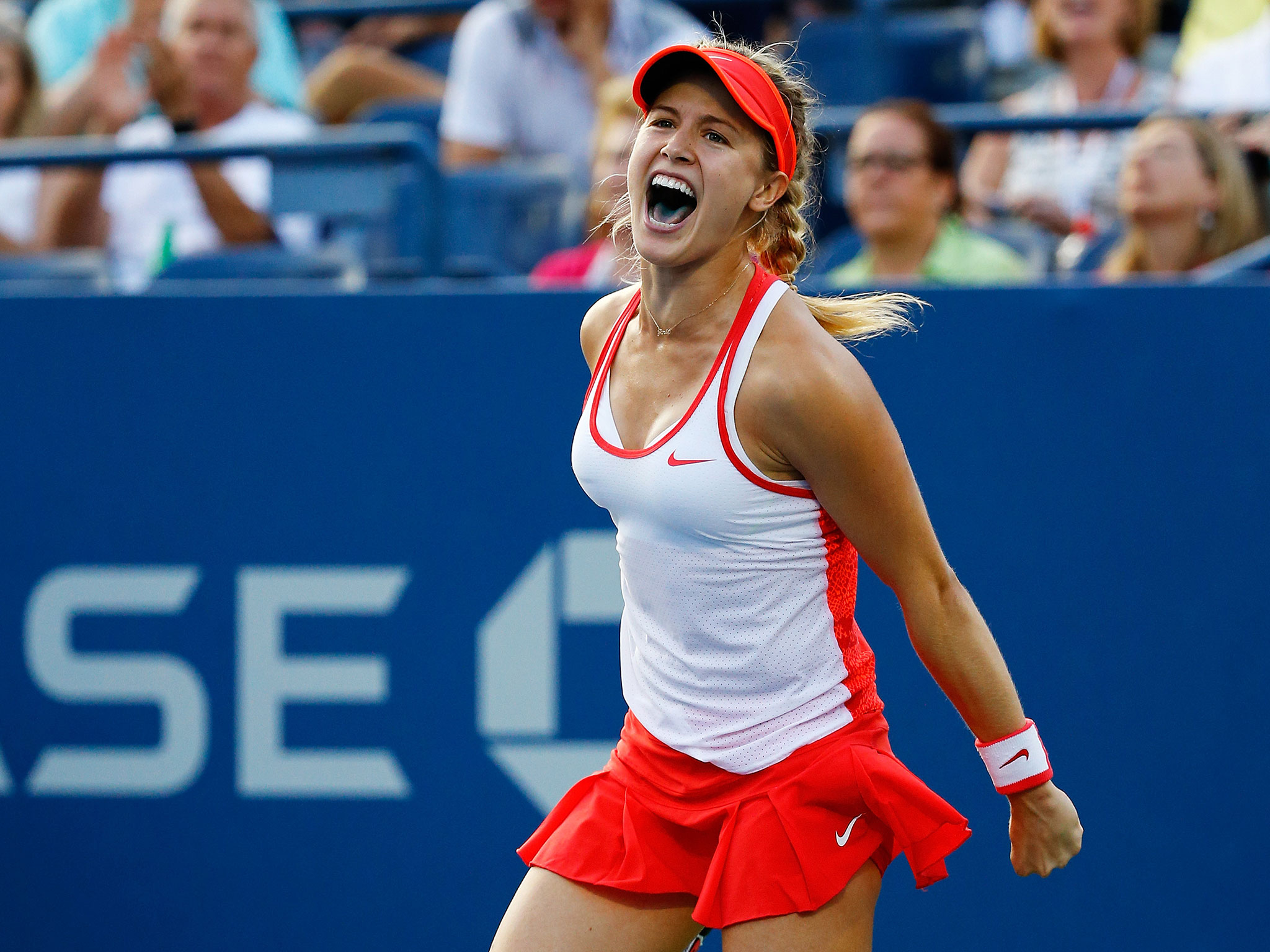 lovely eugenie bouchard stunning reaction for winnnig game pose mobile free desktop background images hd