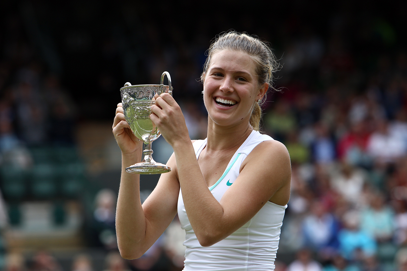 wonderful eugenie bouchard fantastic cup with smile face pose desktop mobile hd pictures free at wimbledon