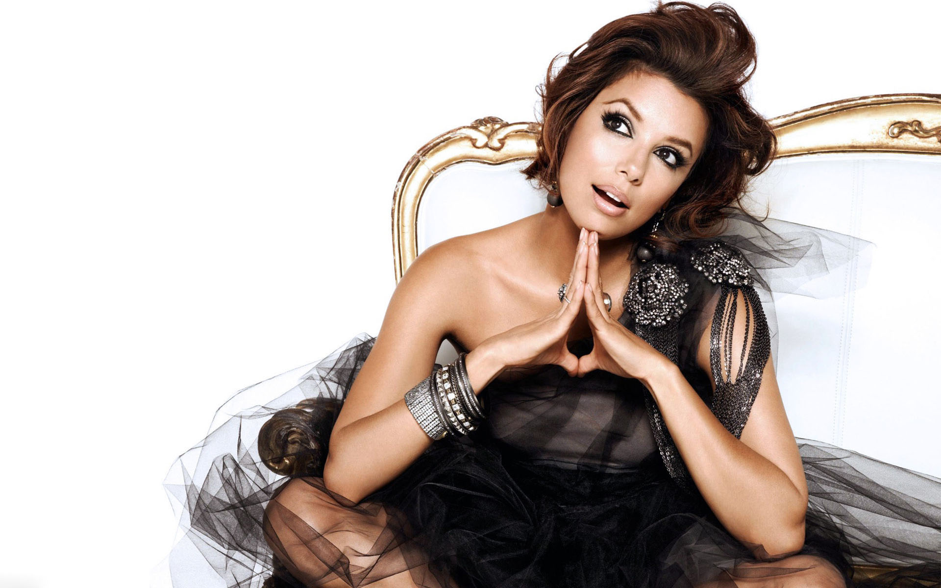 Cute Eva Longoria Romantic Thinking And Pose With White Background Still Mobile Desktop Background Hd Free Pictures