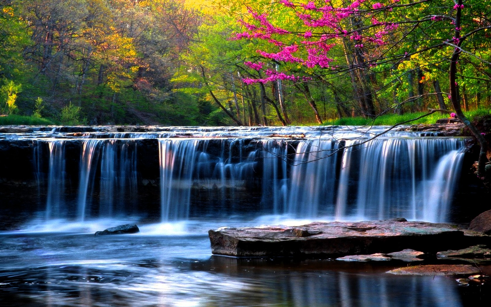 waterfalls nature spring falls forest wallpaper background