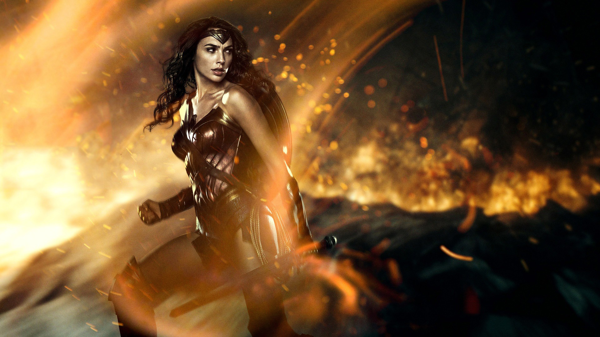 gal gadot amazing wonder women fire pose and cute look mobile hd desktop background free wallpaper