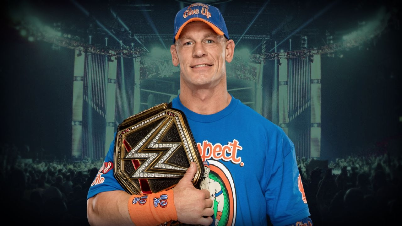 super star wwe john cena with belt mobile desktop free hd background images