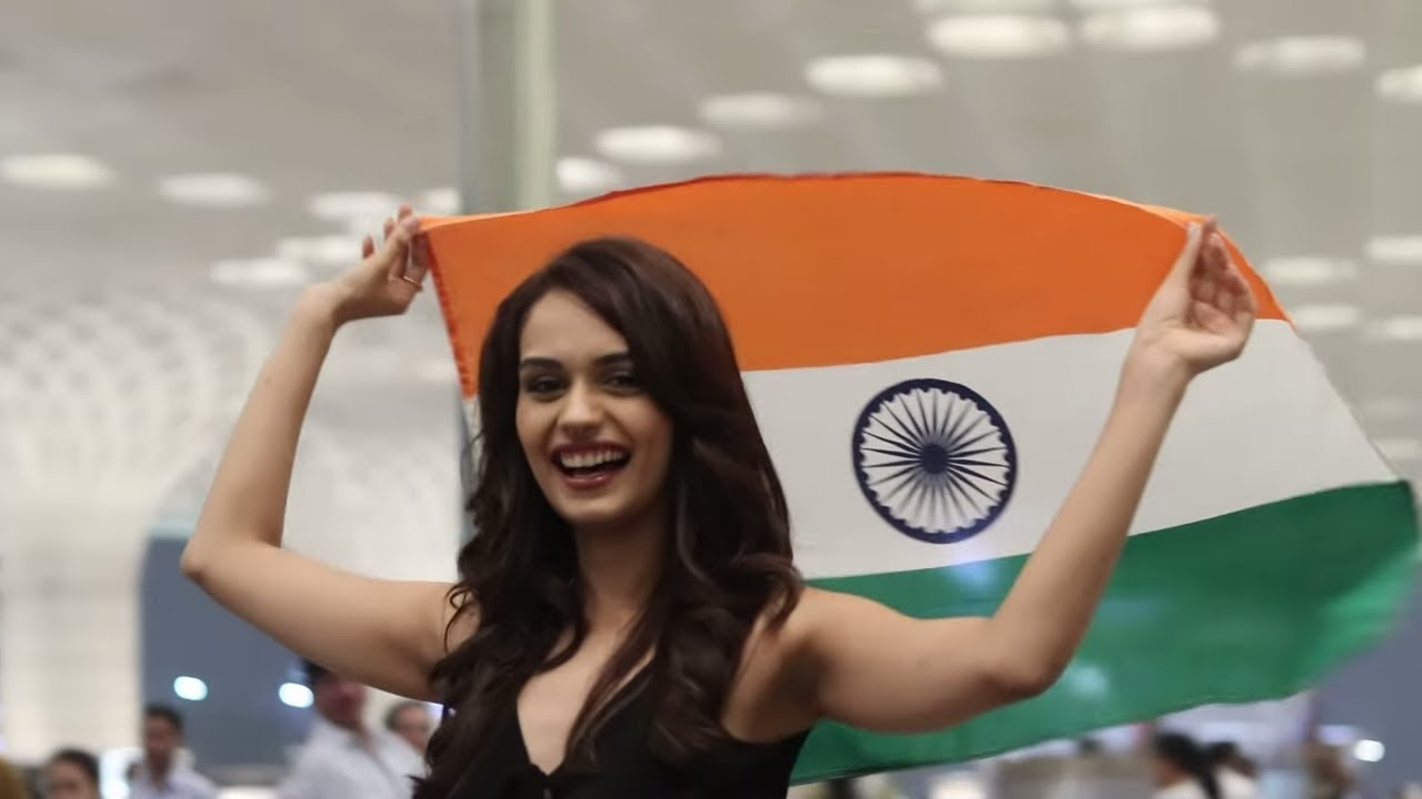 manushi chhillar holding indian flag wallpapers
