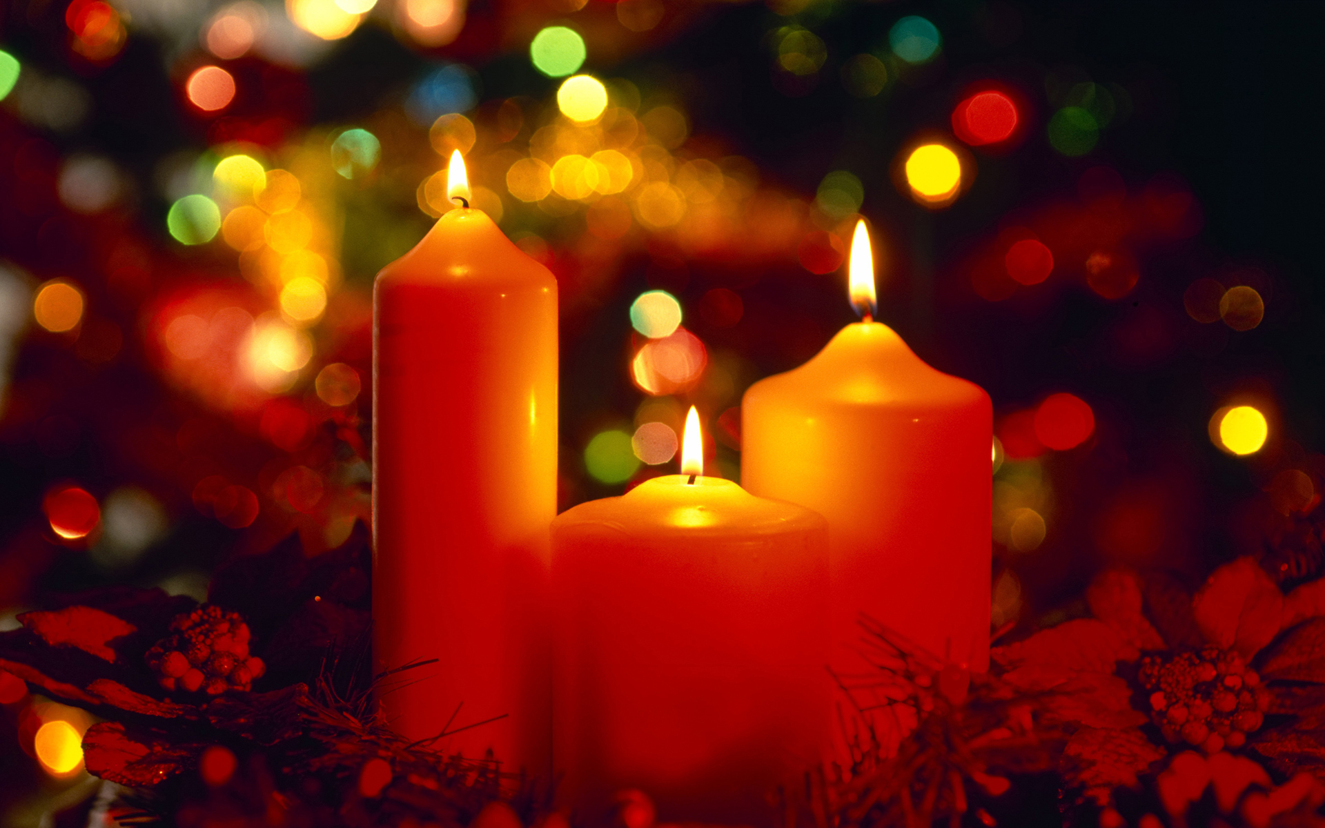 christmas cheerful candles light wallpapers
