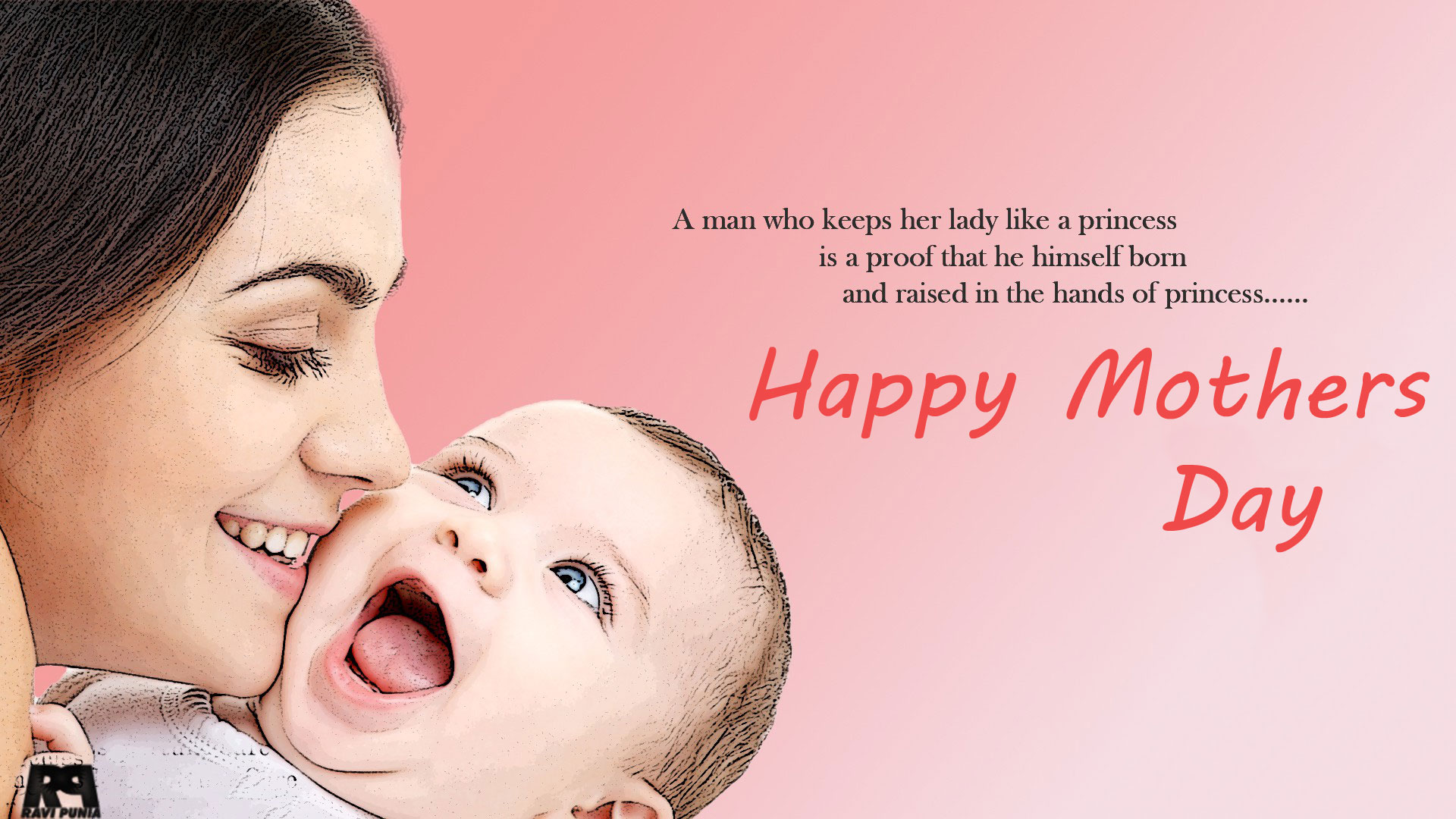 mom kisses to baby hd mothers day quotes image