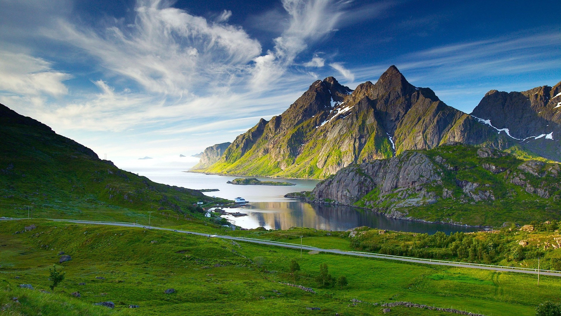 Green mountains and lake in norway high resolution wallpaper