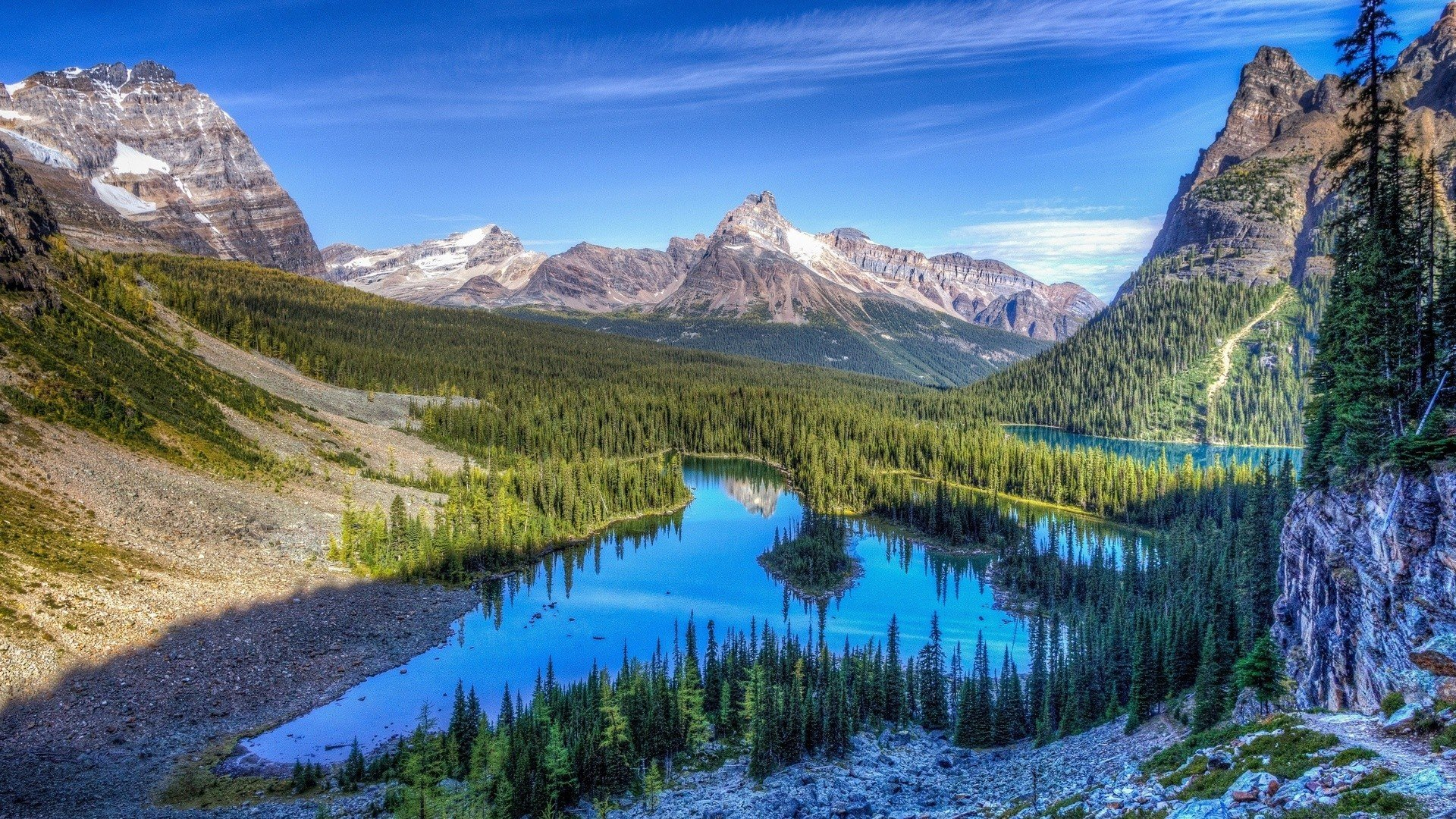 Mountains Clouds Landscapes Nature Lakes Rocky Mountains Wallpaper