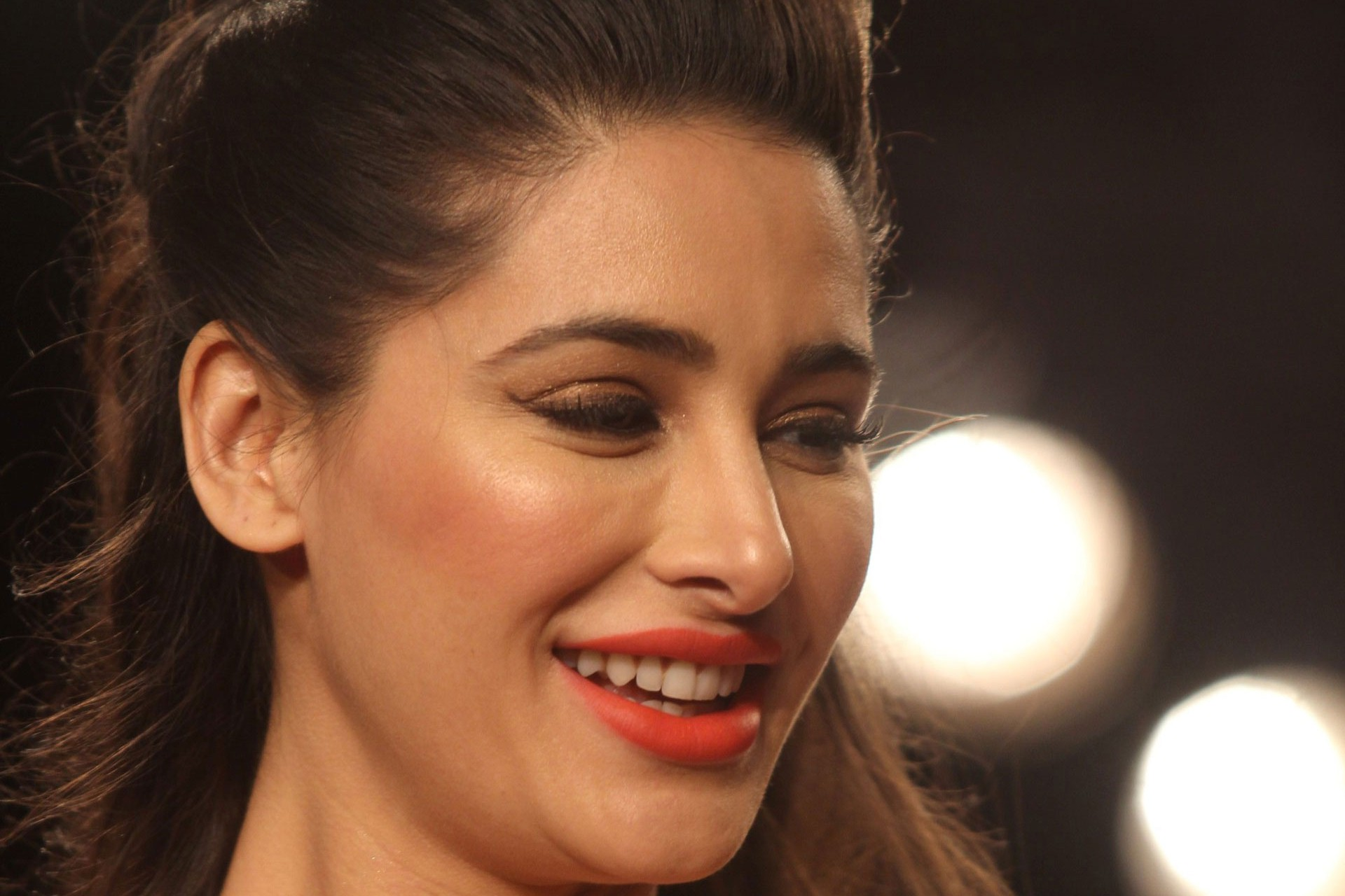 nargis fakhri red lips smiling photo