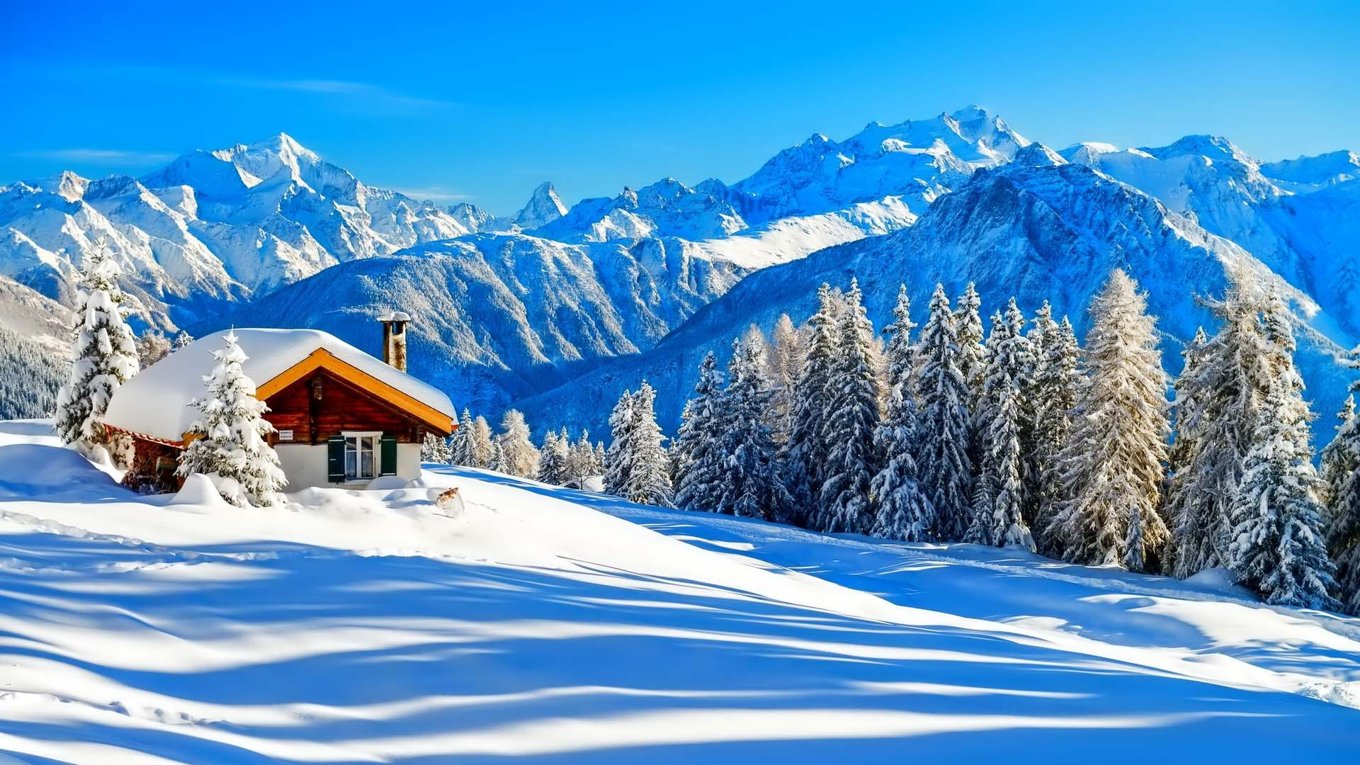 Peaceful Beautiful Mountain Winter Wallpaper Hd Images Picture
