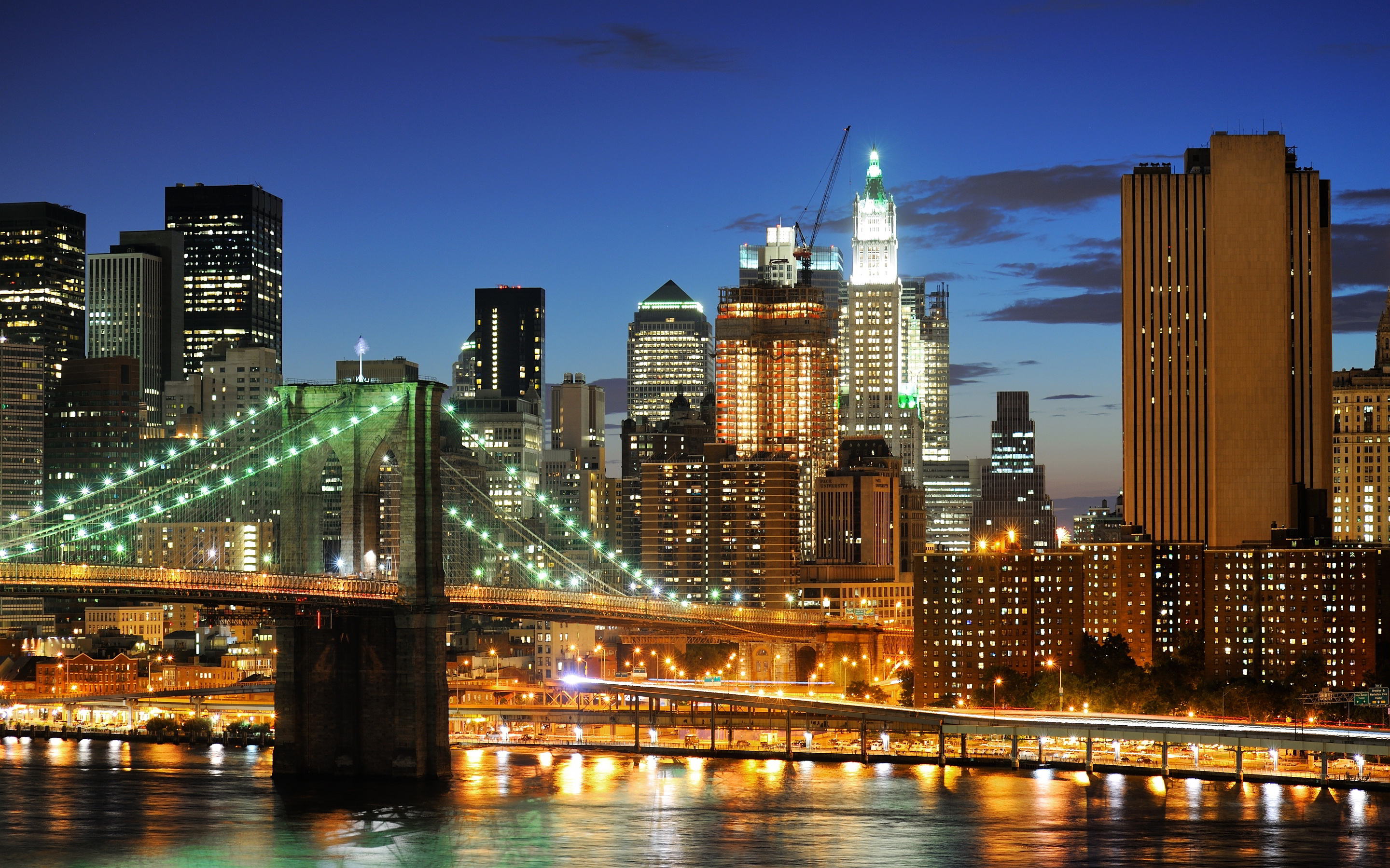 attractive city manhattan bridge double decker new york wallpapers download