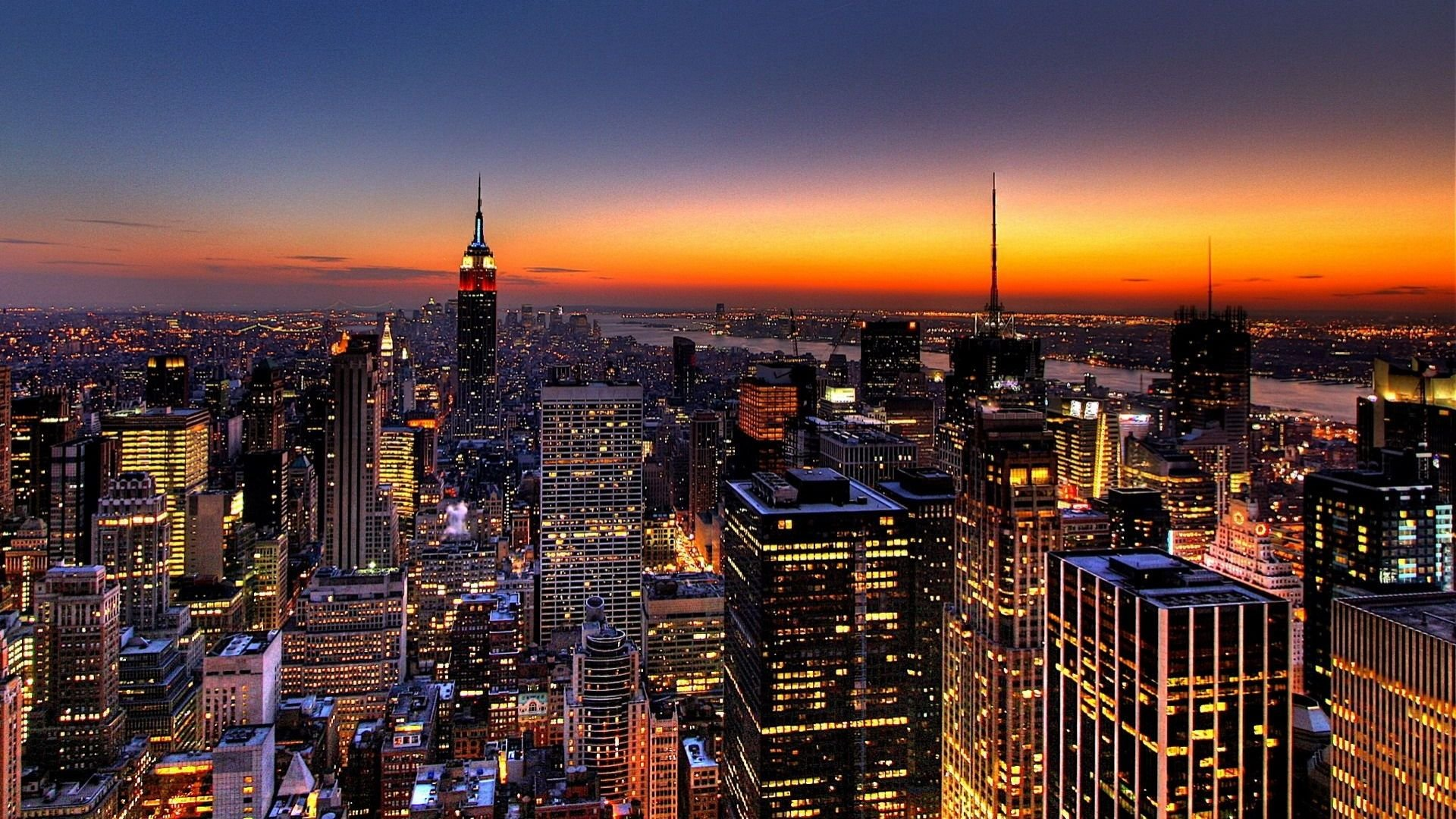 sky scraping new york city us at night wallpapers download