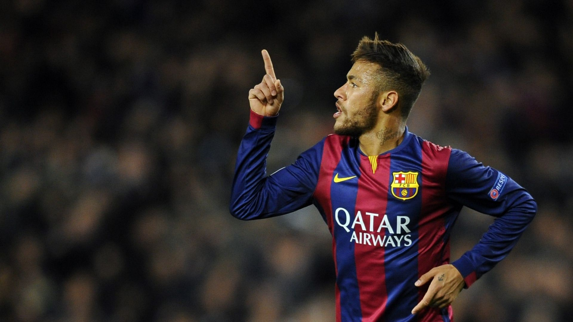 desktop neymar football soccer player hd free raise finger mobile bakground download pic