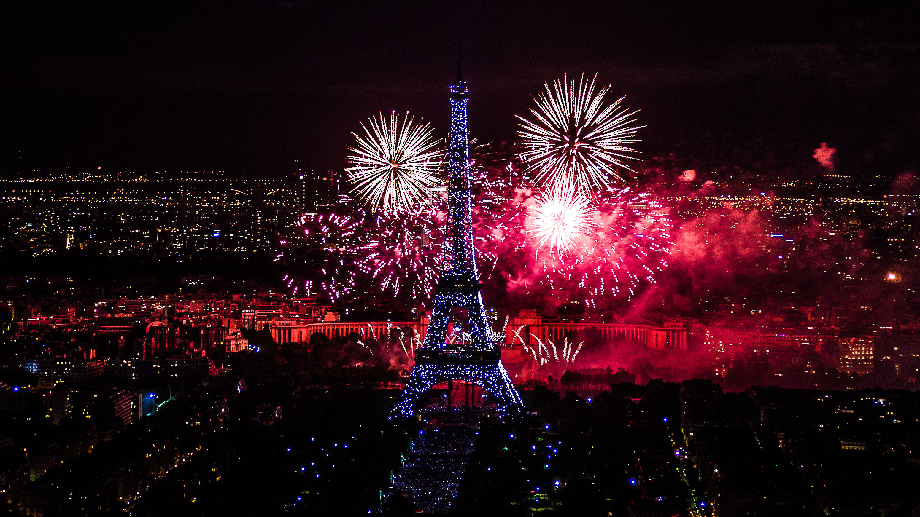 fireworks celebrations night eiffel tower paris hd download wallpapers