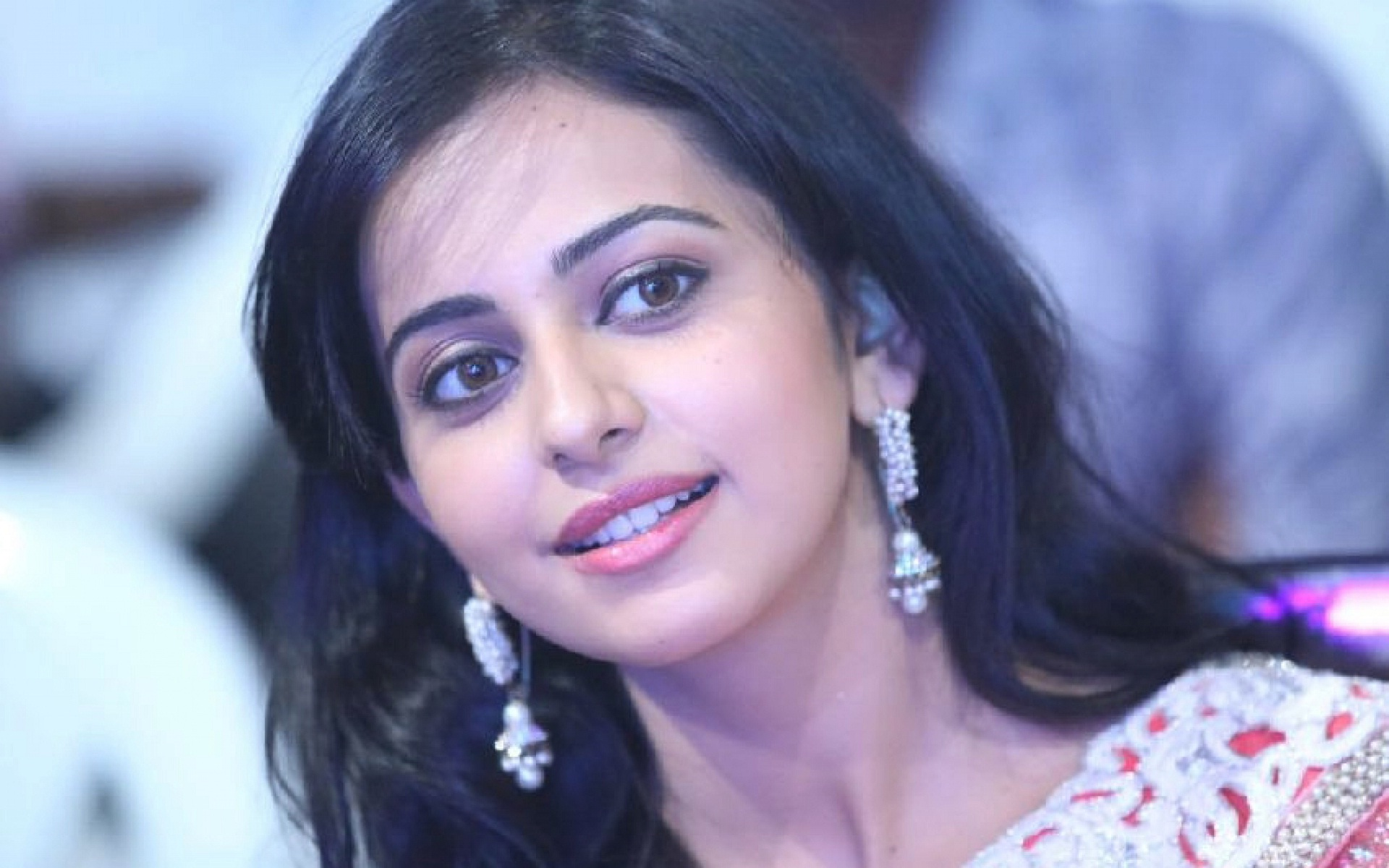 hd rakul preet singh cute smile still background free mobile desktop wallpaper