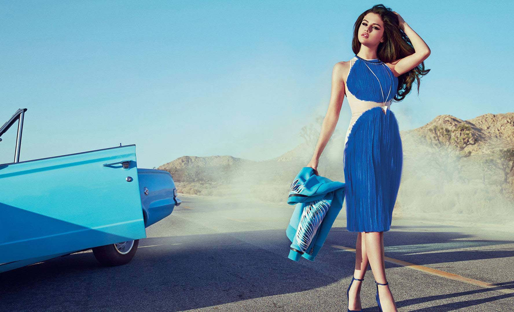 Beautiful Selena Gomez Blue Dress With Car Stylish Look Desktop Mobile Background Hd Free Images