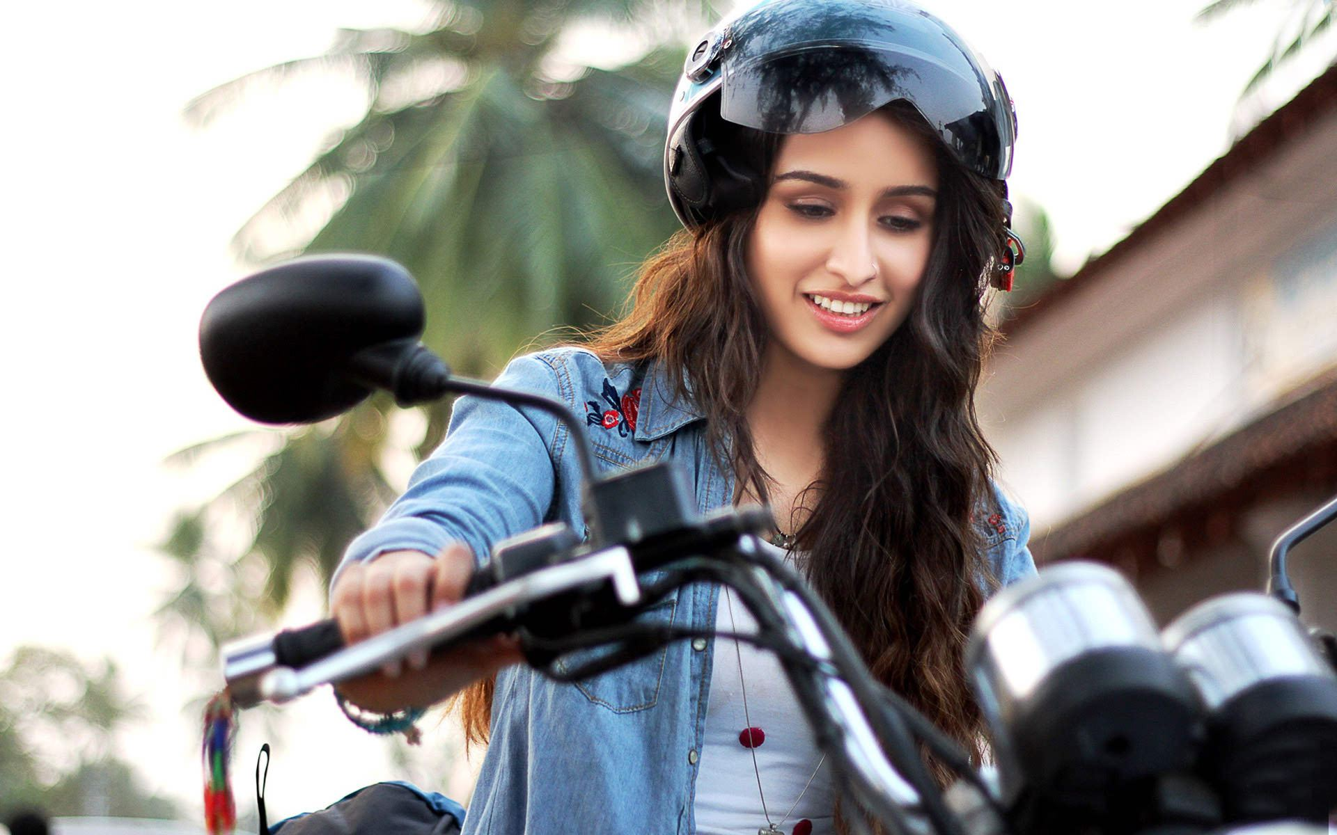 stunning shraddha kapoor with bike still background hd free desktop mobile wallpaper