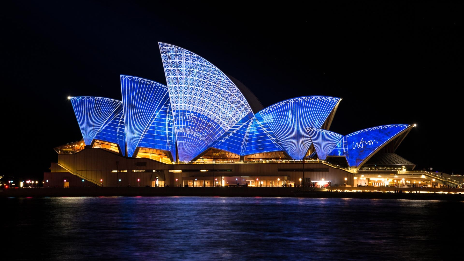 attractive sydney opera house at night view charming laptop background hd images download