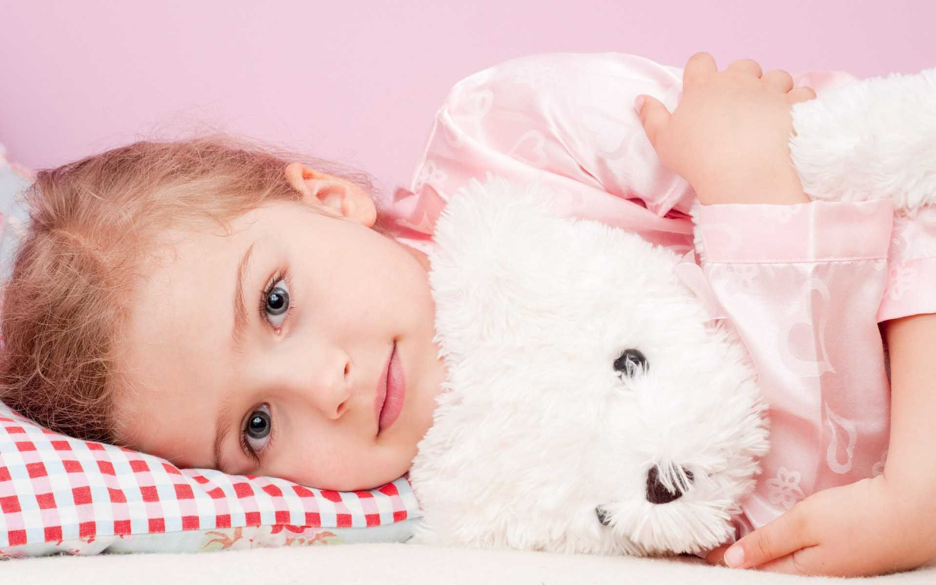 blonde child girl toy teddy bear wallpaper