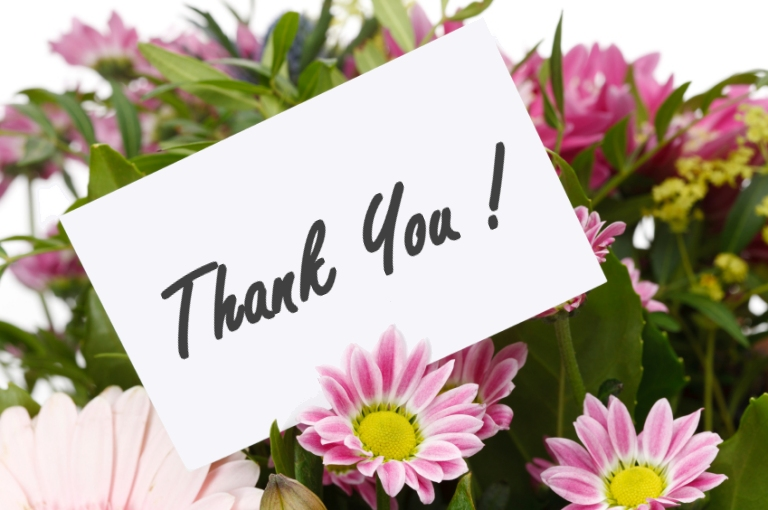 cute thank you with flowers free download