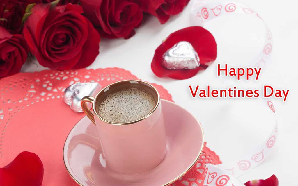 cute wishes lovers valentines day with cup coffee hearts red wallpapers
