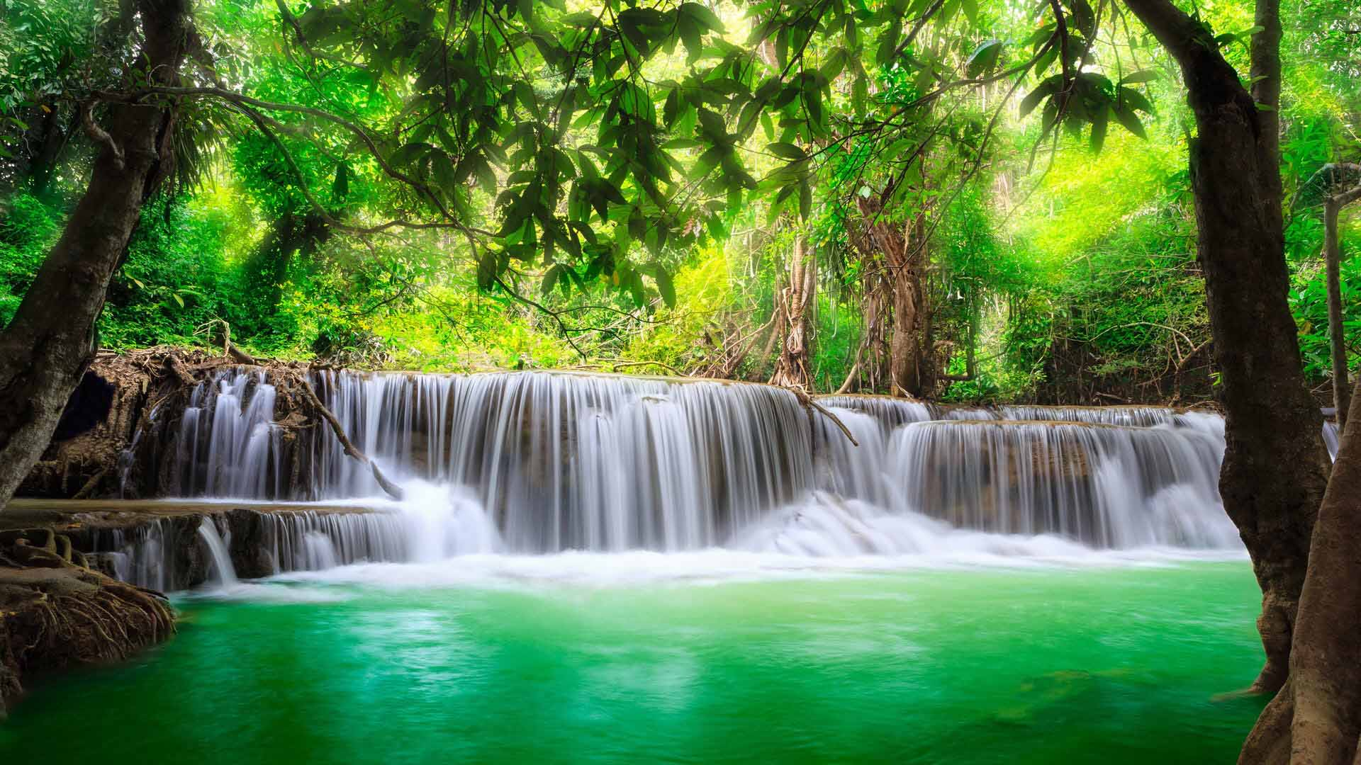 Green Lake Washinton Waterfall Wallpaper Picture Free Download Copy