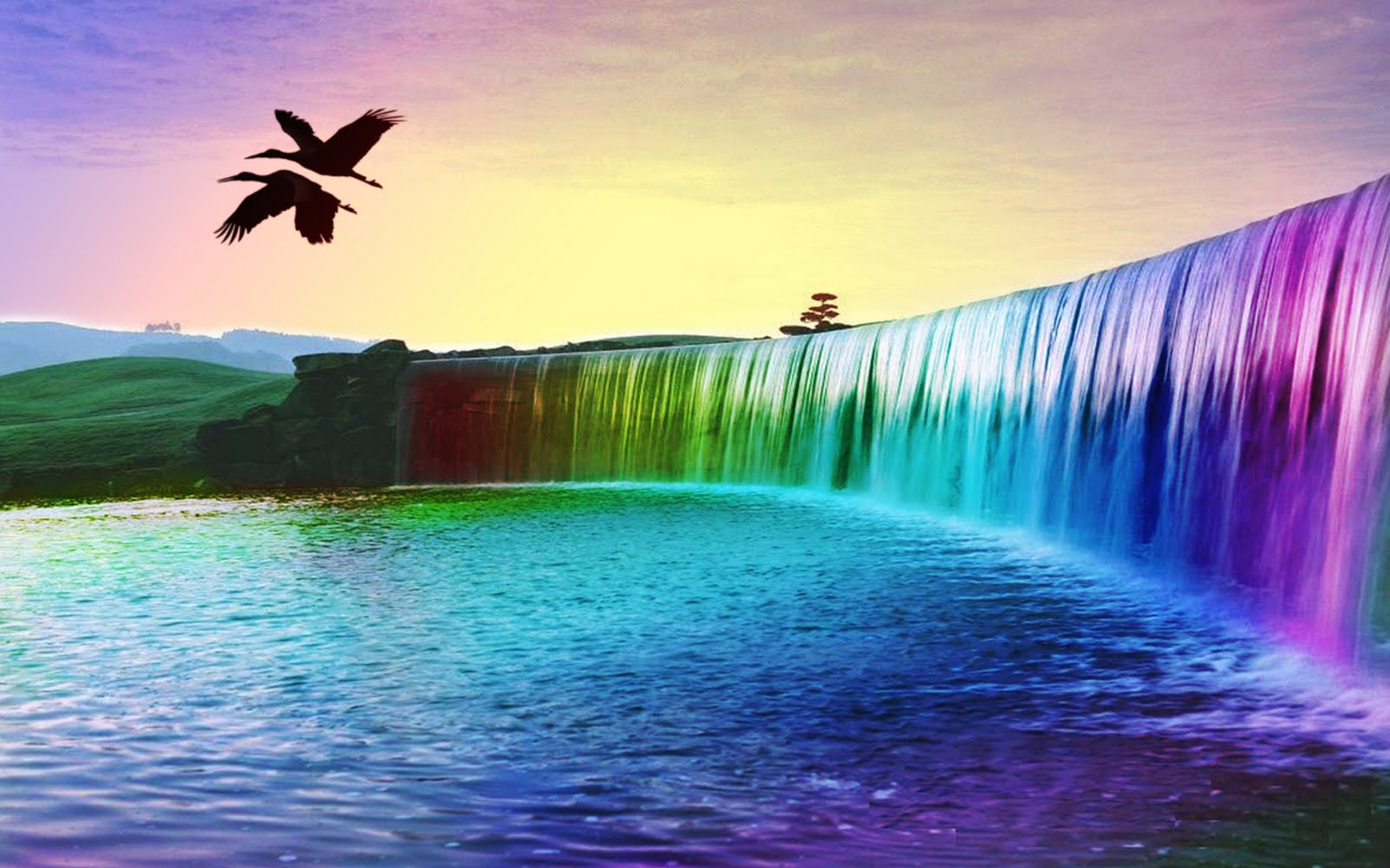 high resoultion rainbow colourful waterfall 3d background image
