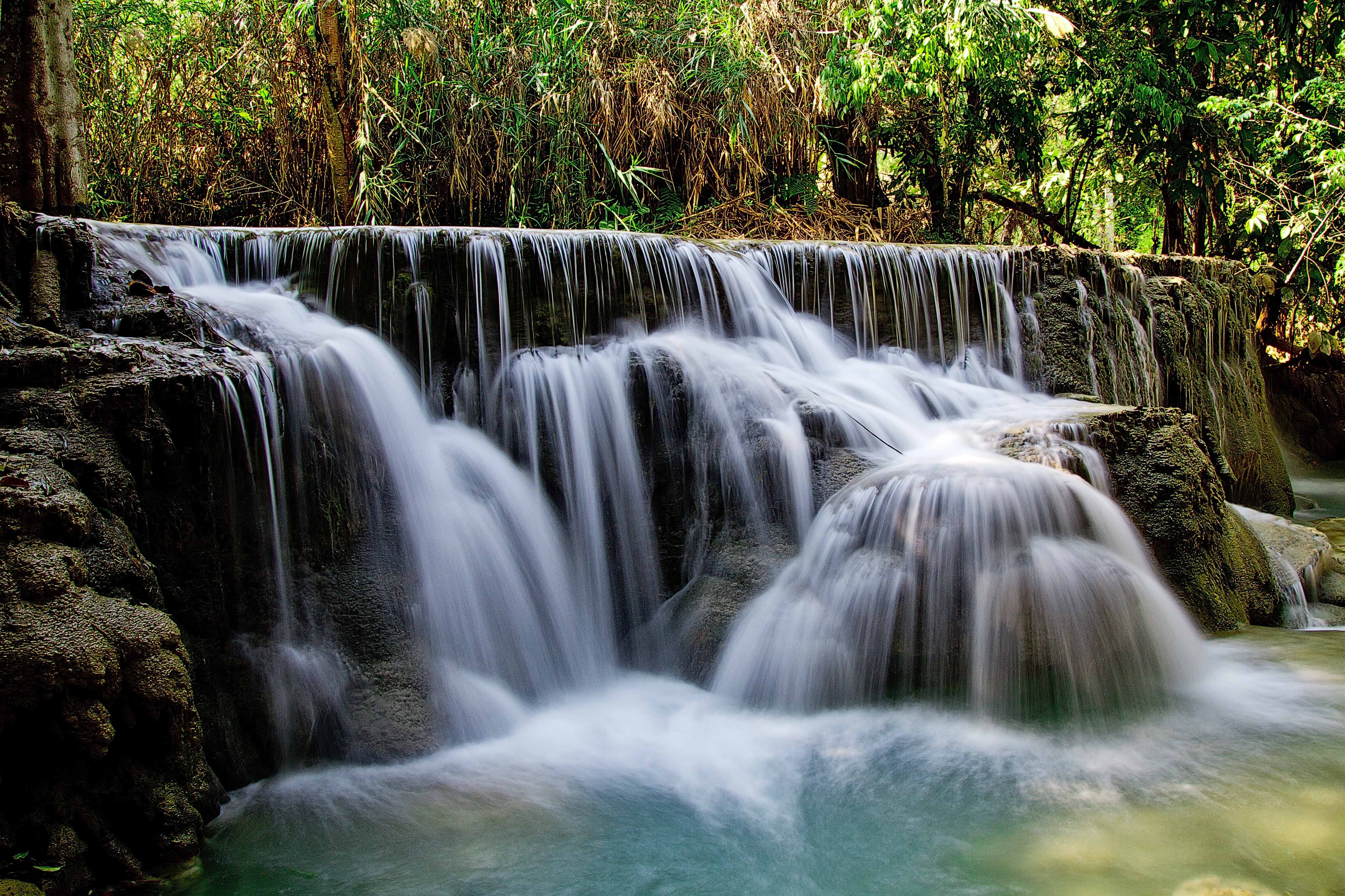 kuang si falls waterfall water flow image free download