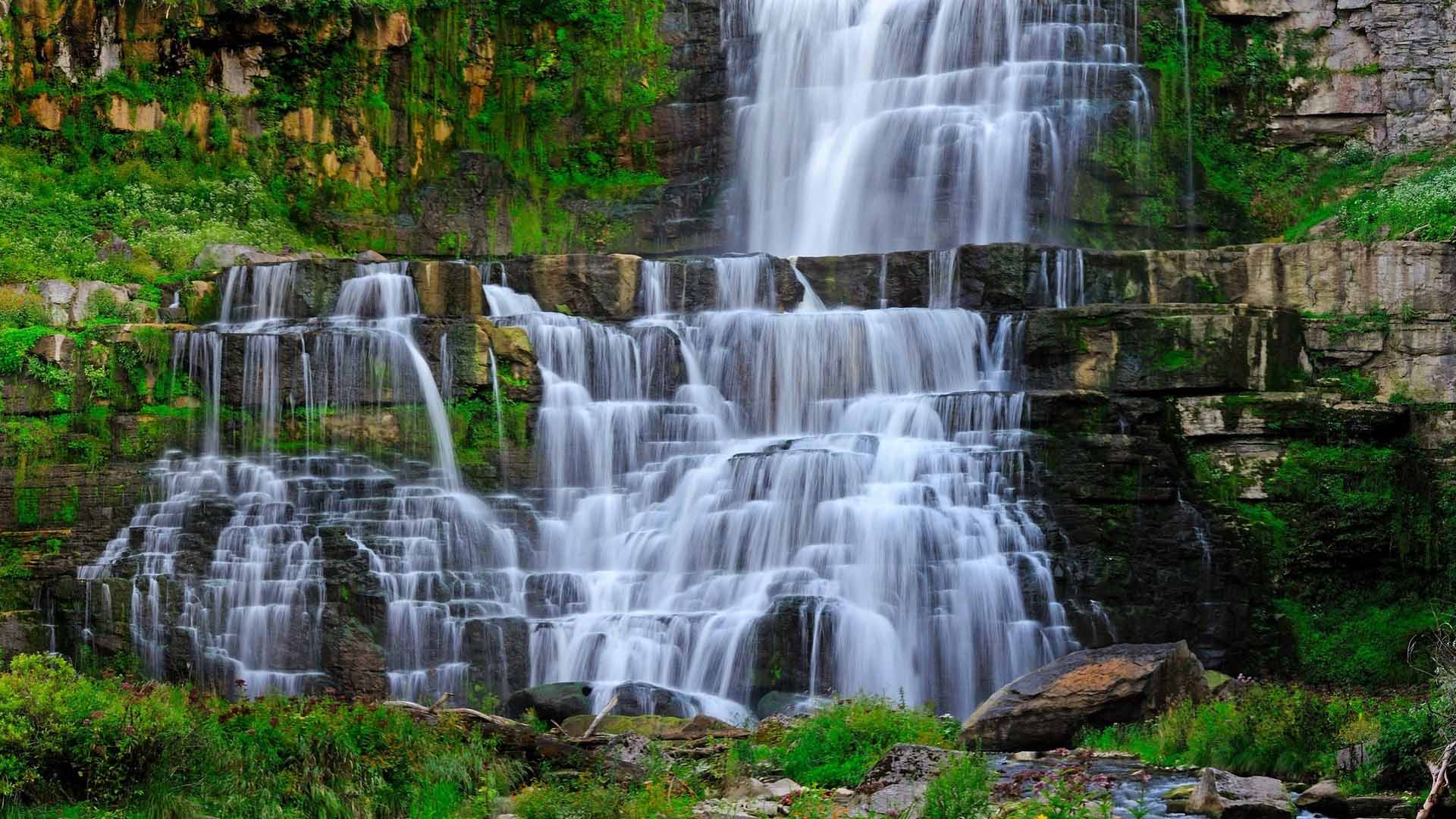 waterfall stream rocks landscape images download free